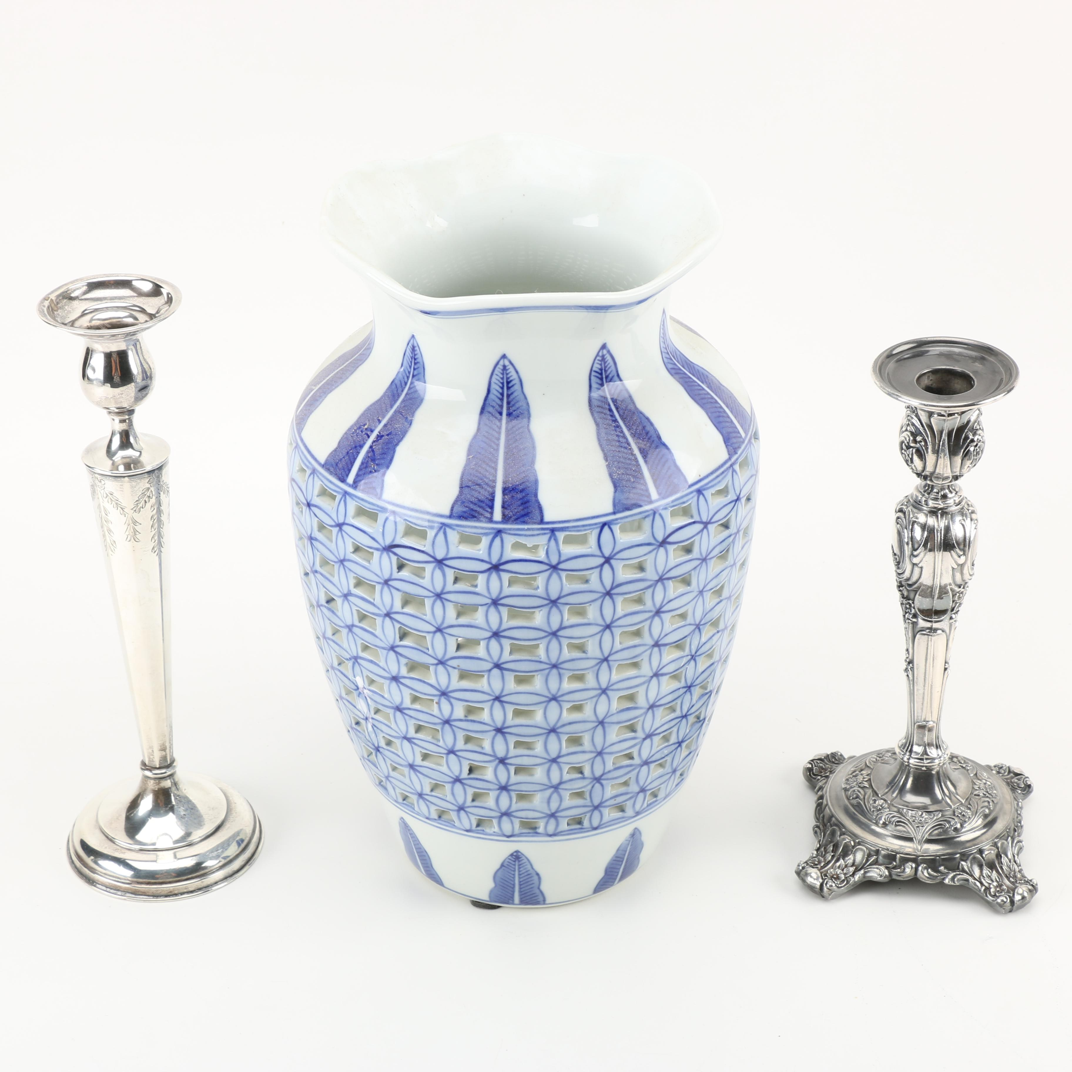Liebs Silver Co Weighted Sterling Silver Candlestick and Chinese Vase