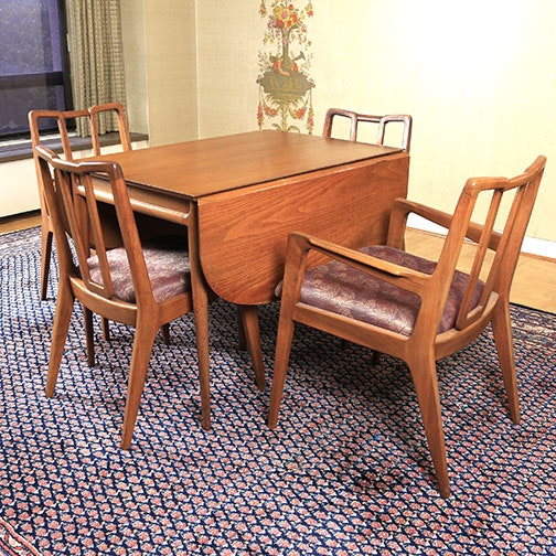Mid Century Modern Dining Table and Chairs by Mount Airy Chair Co