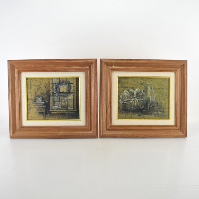 """Pat Richter Offset Lithographs on Canvas """"Candle Glow"""" and """"Pitcher and Bowl"""""""