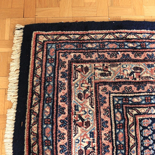 Hand-Knotted Iranian Moud Area Rug