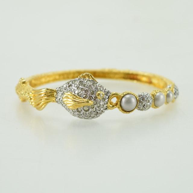 Alexis Bittar Gold Tone Hinged Encrusted Bracelet