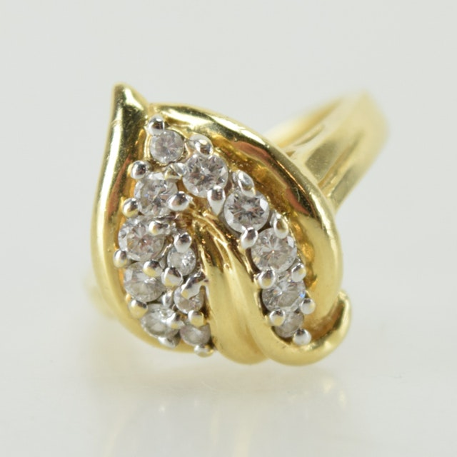 14K Yellow Gold and Cubic Zirconia Cocktail Ring
