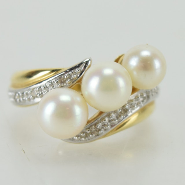 14K Yellow Gold, Freshwater Pearl and Diamond Cocktail Ring