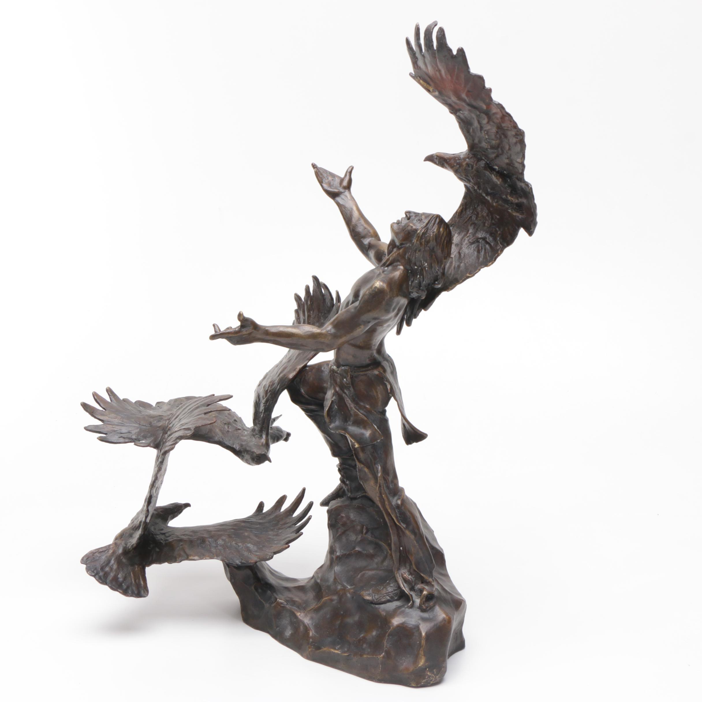 """Bronze Sculpture After Buck McCain's """"The Soaring Spirits"""""""