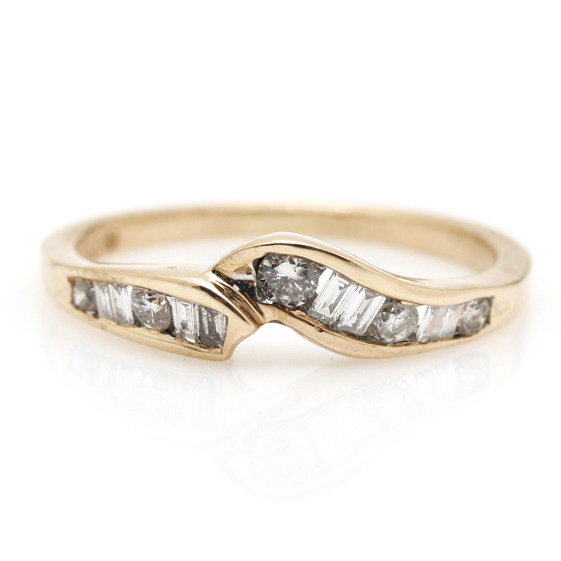 14K Yellow Gold Delicate 0.35 CTW Diamond Ring