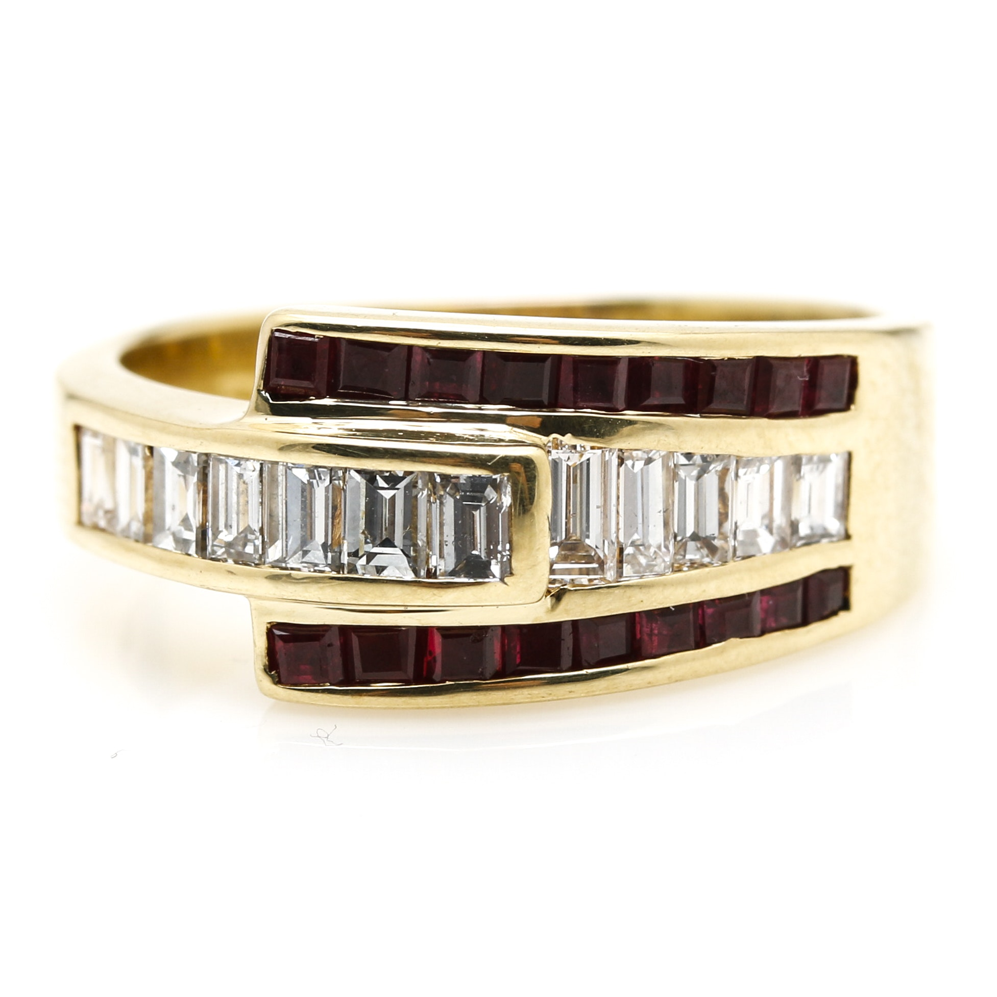 18K Yellow Gold 0.95 CTW Diamond and 0.81 CTW Ruby Ring