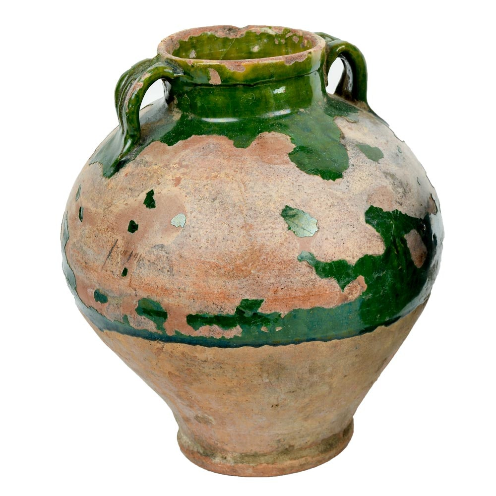 Antique Indian Pottery Vessel Green Glaze and Inscription