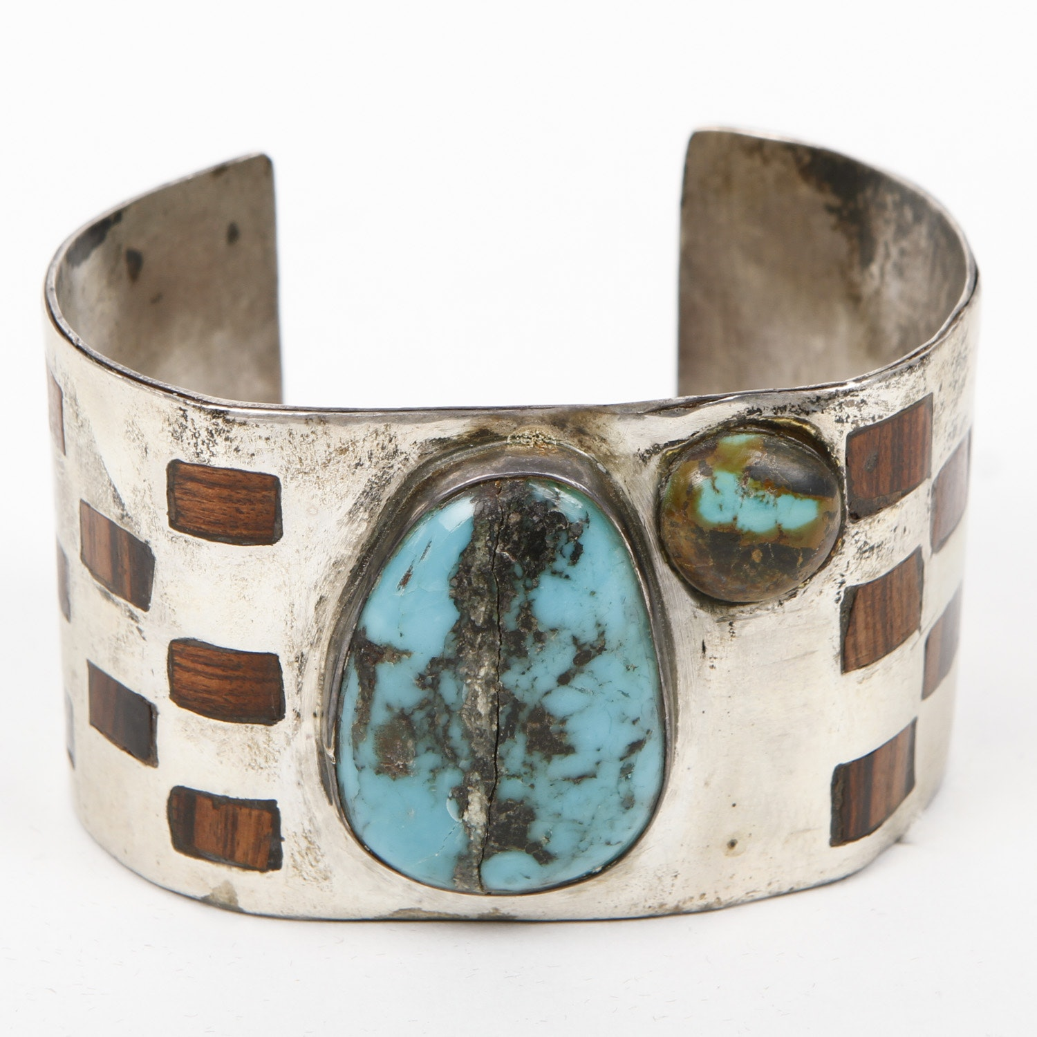 Vintage Sterling Silver, Turquoise, and Inlaid Rosewood Cuff
