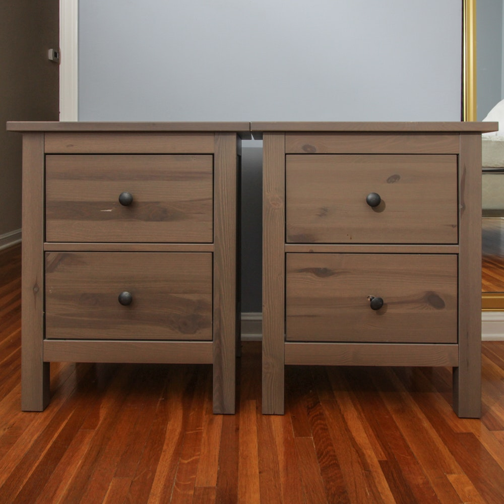 Pair of Stained Pine 2-Drawer Nightstands