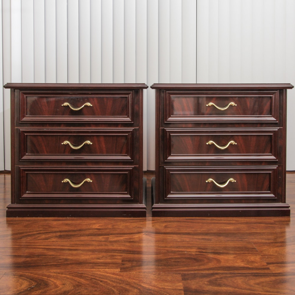 Pair of Italian End Tables with Flame Mahogany Veneer