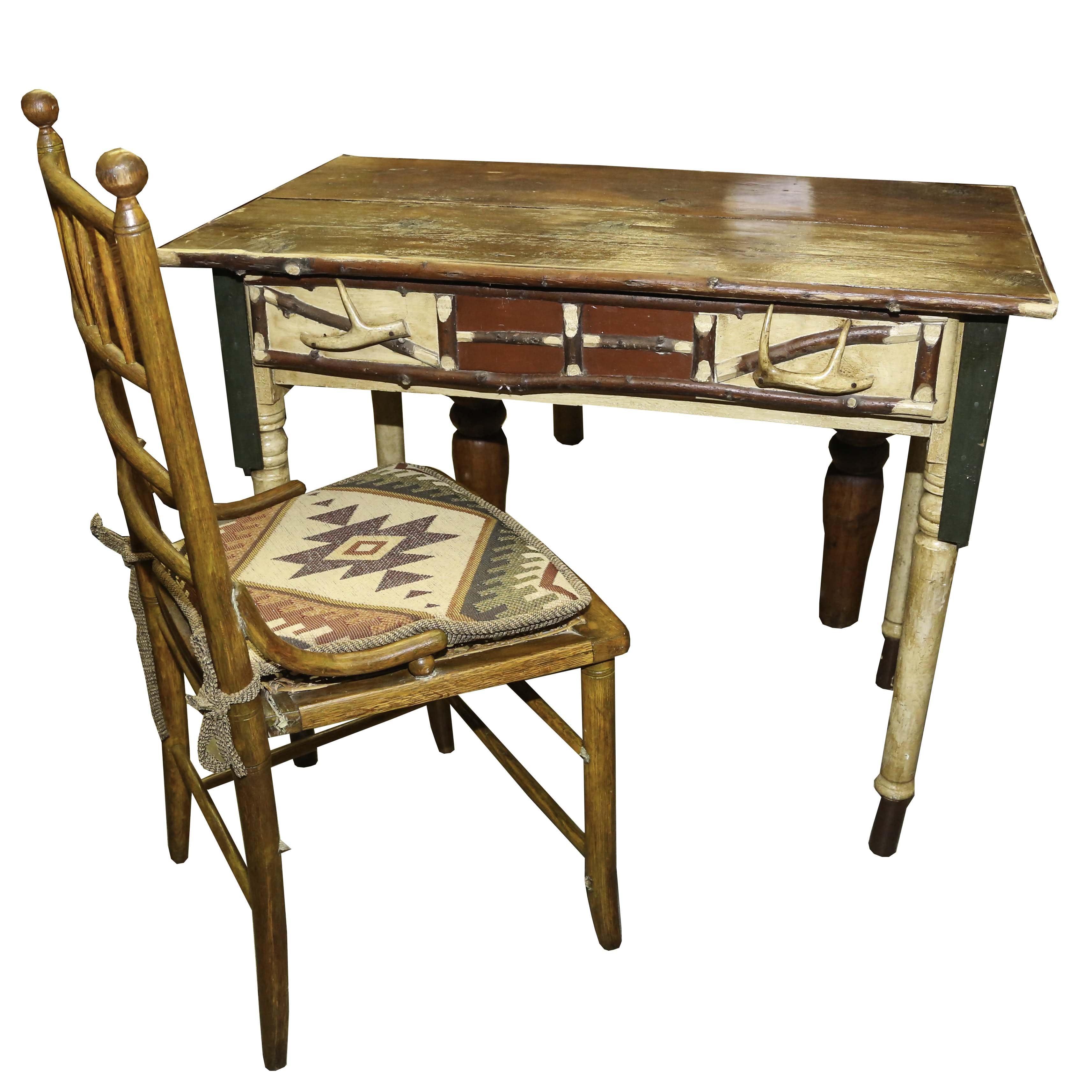 Vintage Lodge Style Writing Desk and Oak Chair