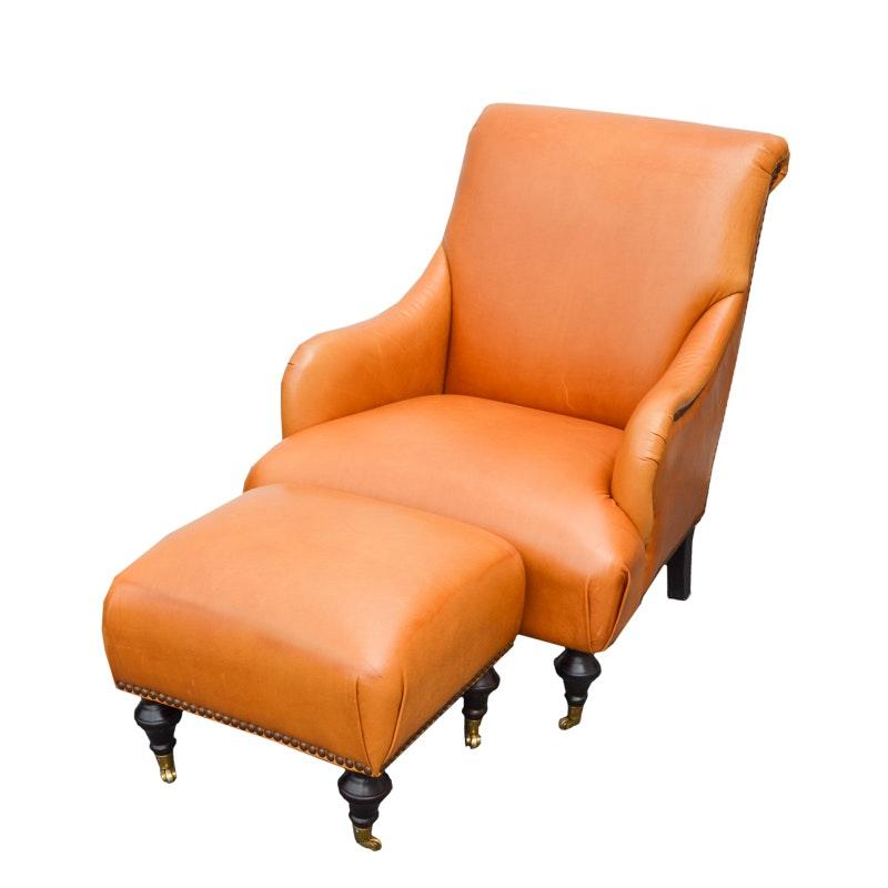 Dark Saffron Leather Armchair and Ottoman