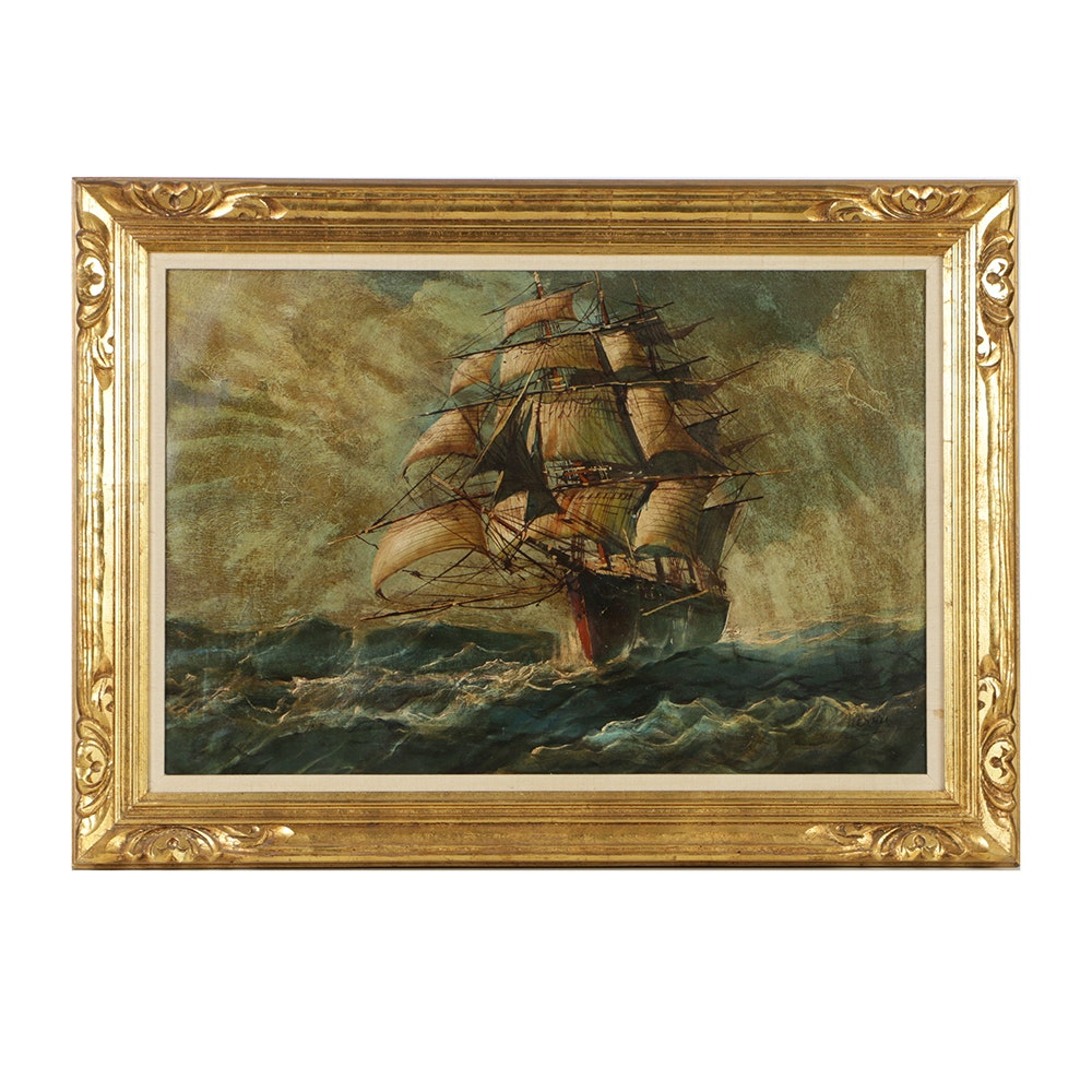Framed Maritime Oil Painting