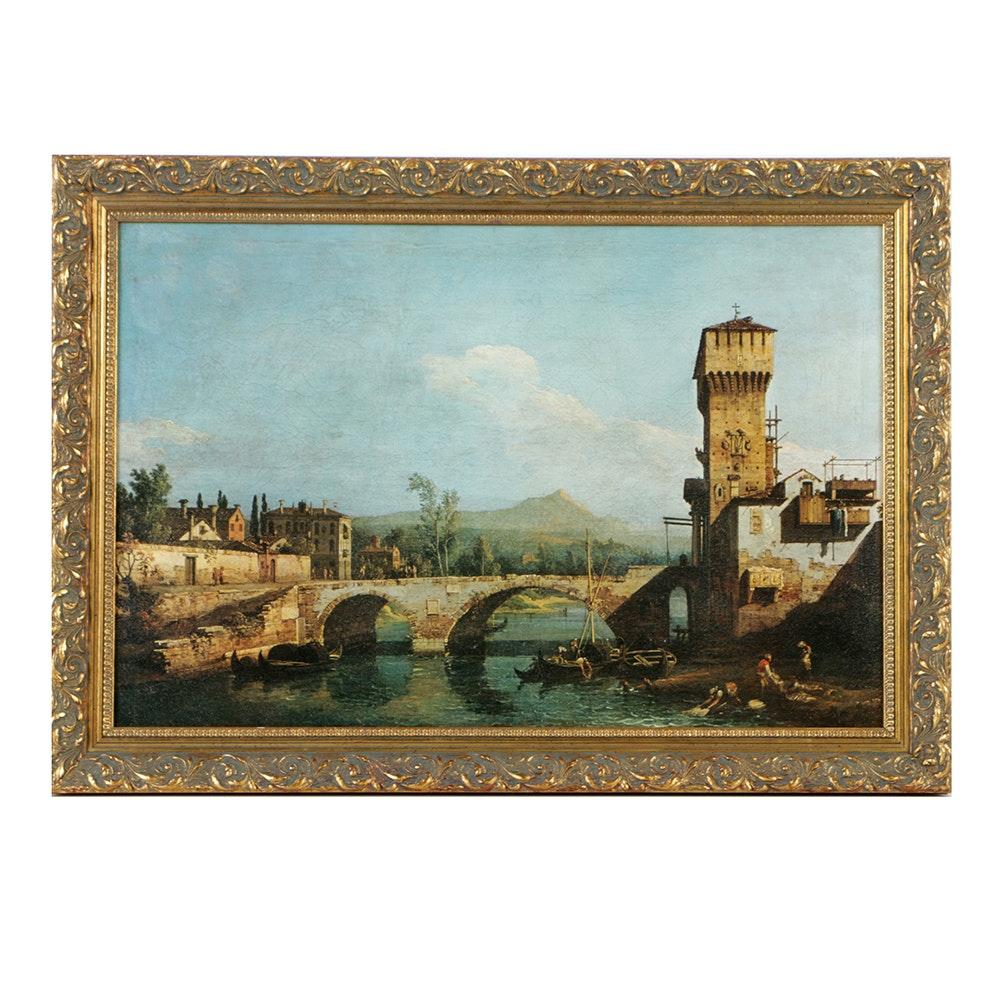 Textured Giclee of Bernardo Bellotto Canal Scene
