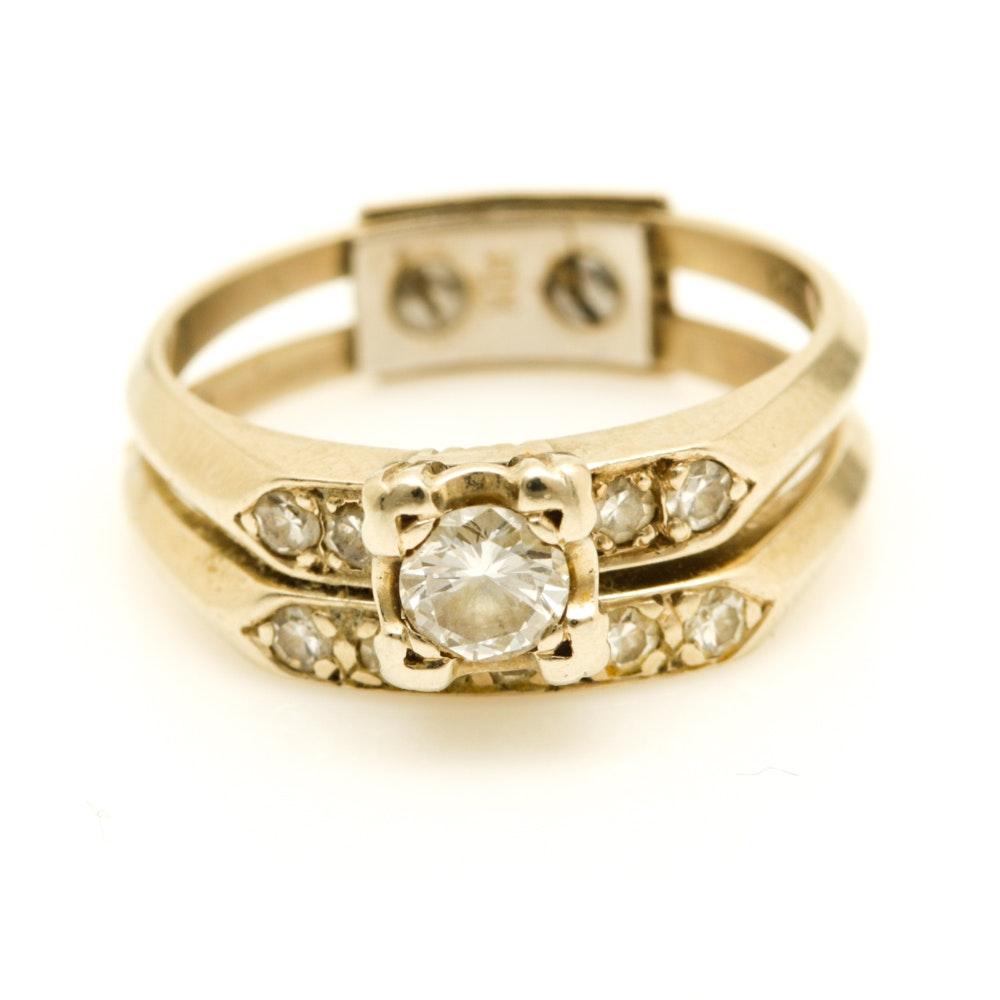 14k White Gold Diamond Wedding Set With 10K White Gold Guard