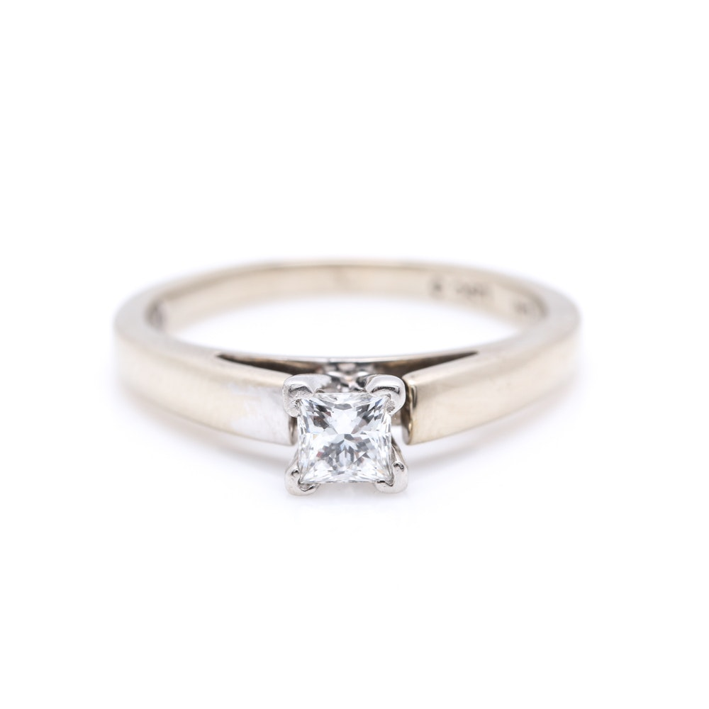14K White Gold and Platinum Leo 0.32 CT Diamond Solitaire Ring