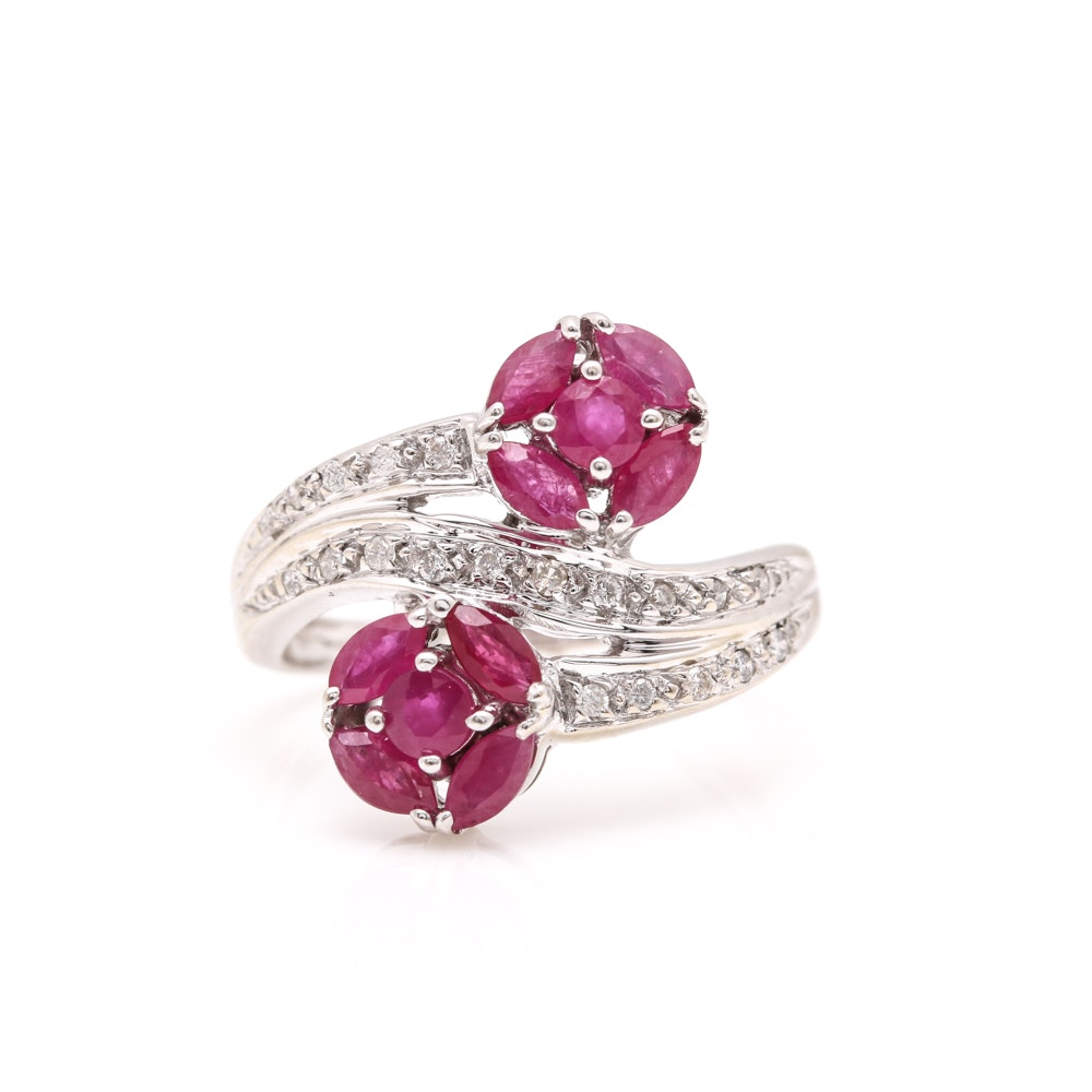 14K White Gold 1.21 CTW Ruby and Diamond Bypass Ring