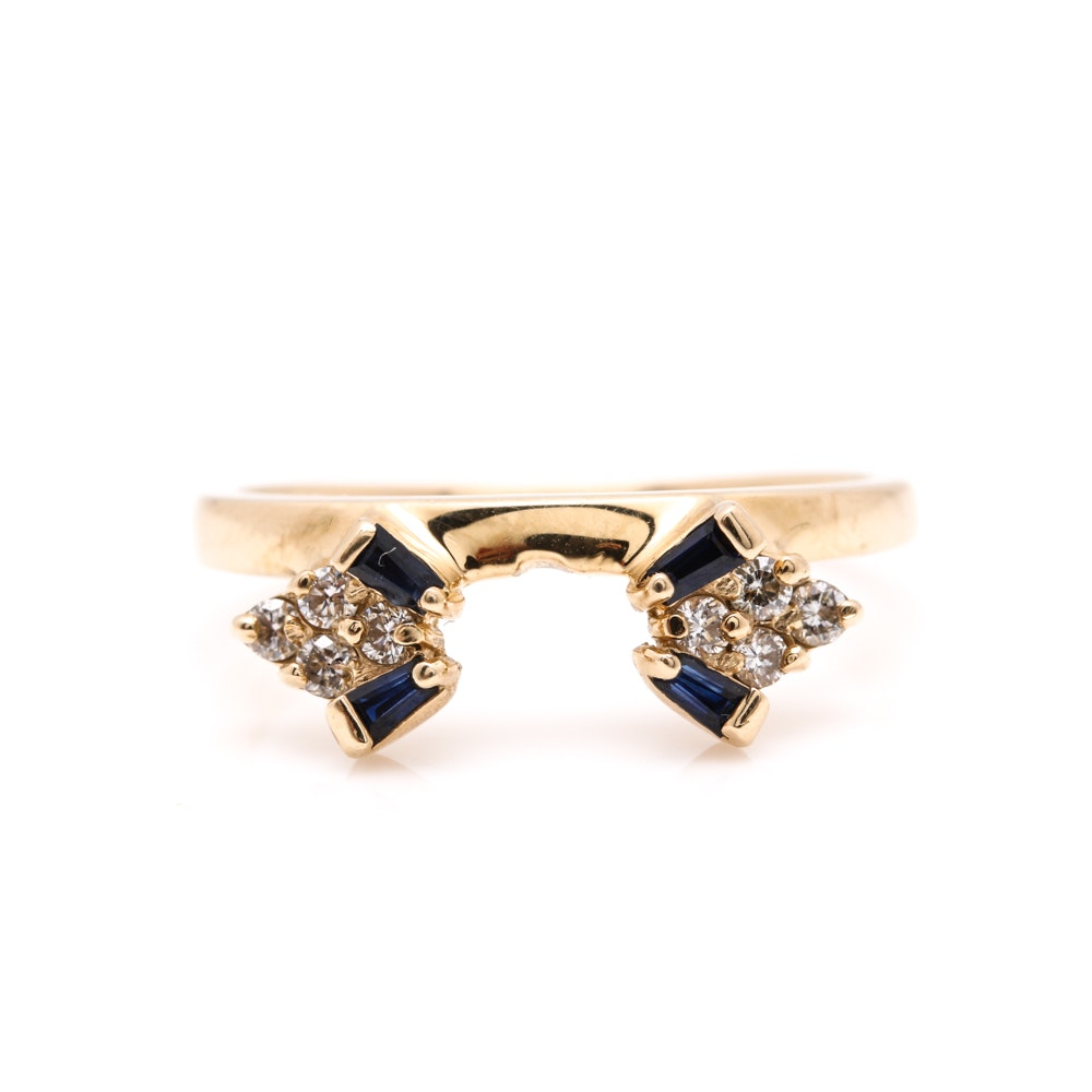 14K Yellow Gold Diamond and Sapphire Enhancer Ring