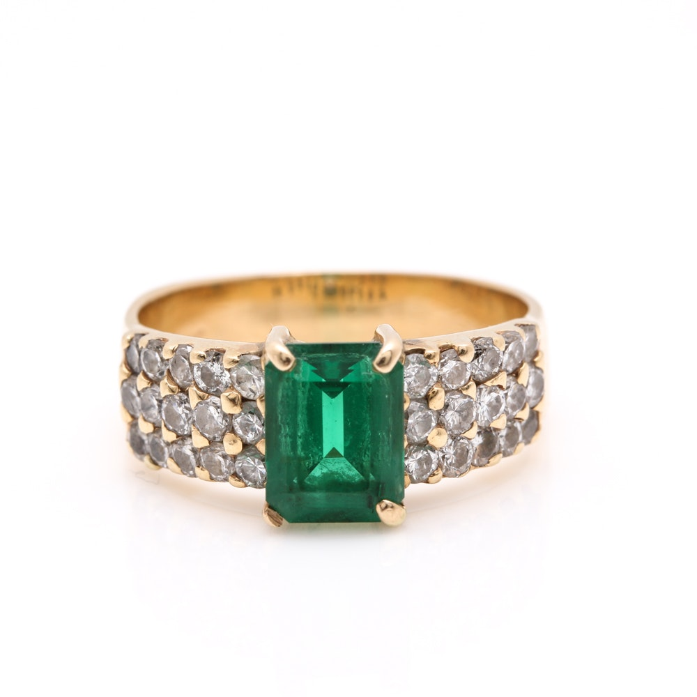 14K Yellow Gold Emerald and 0.24 CTW Diamond Ring