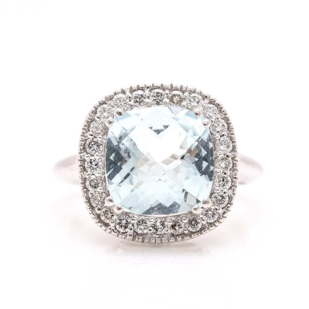 14K White Gold 3.83 CTS Aquamarine and 0.48 CTW Diamond Halo Cocktail Ring