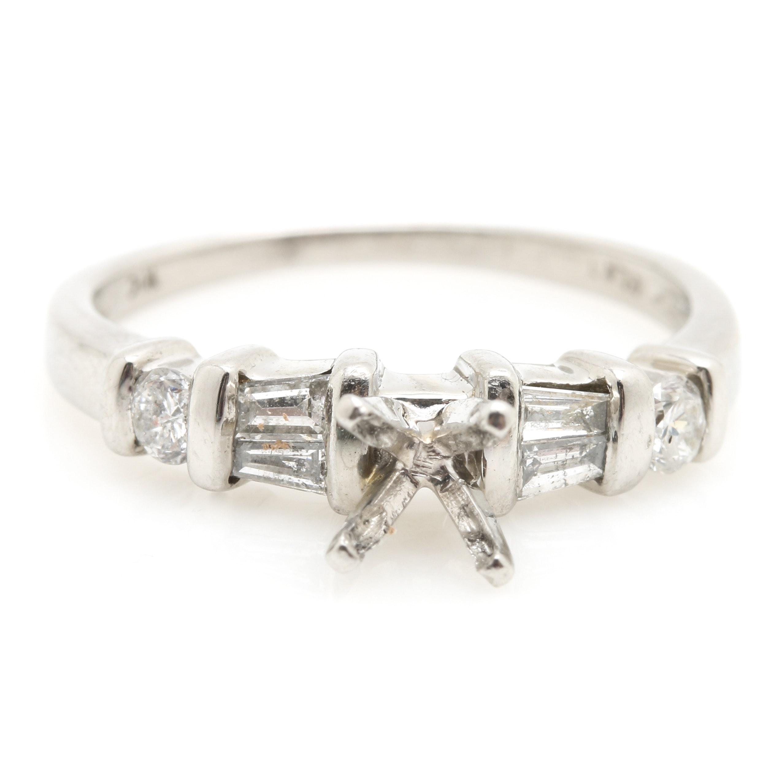 Platinum Ring Semi Mount Featuring 0.26 CTW Diamonds