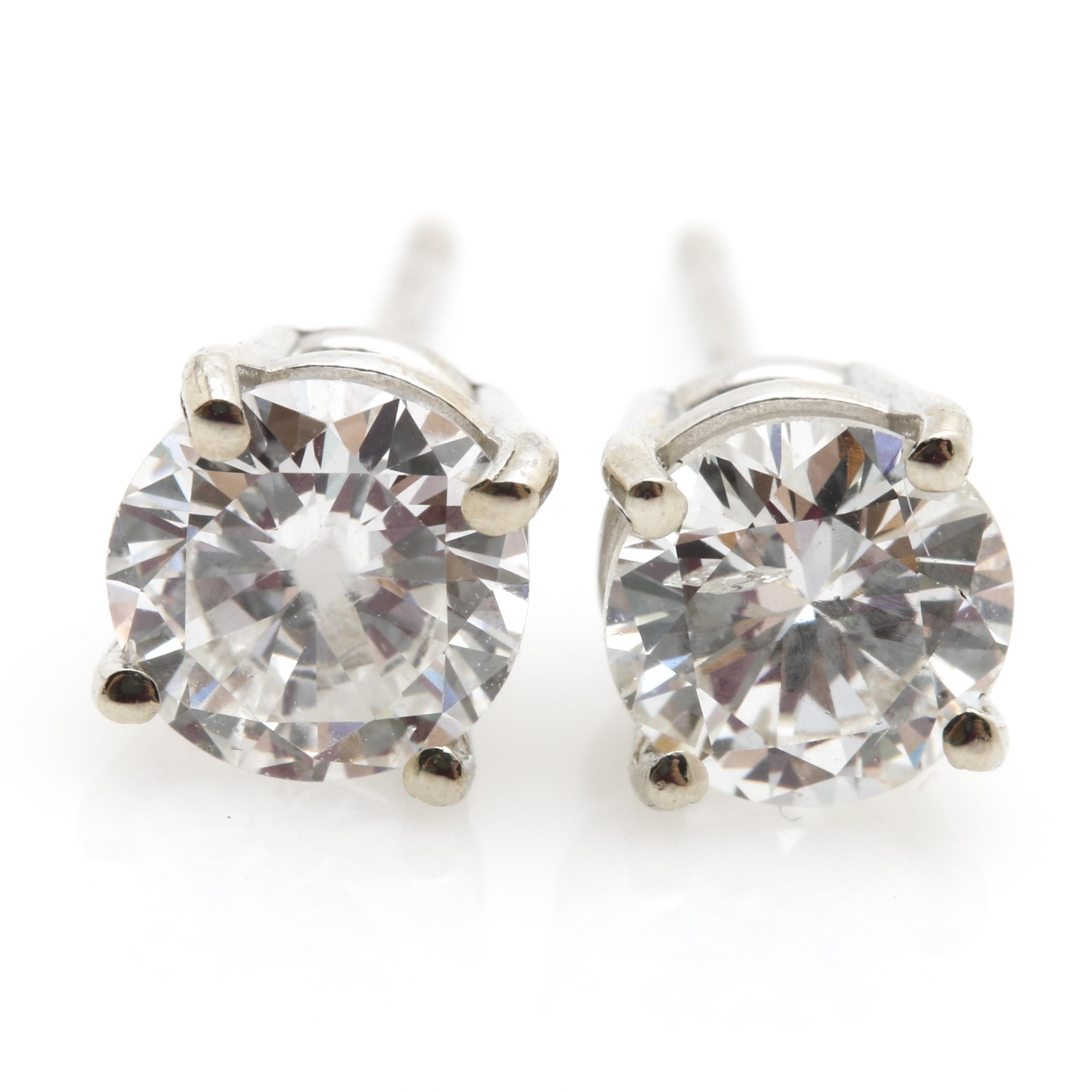 14K White Gold 0.78 CTW Diamond Stud Earrings