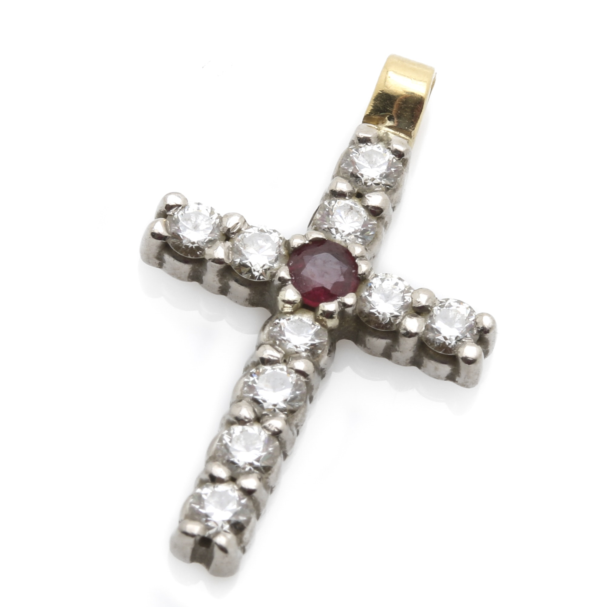 18K Yellow and White  Gold Ruby and Diamond Cross Pendant