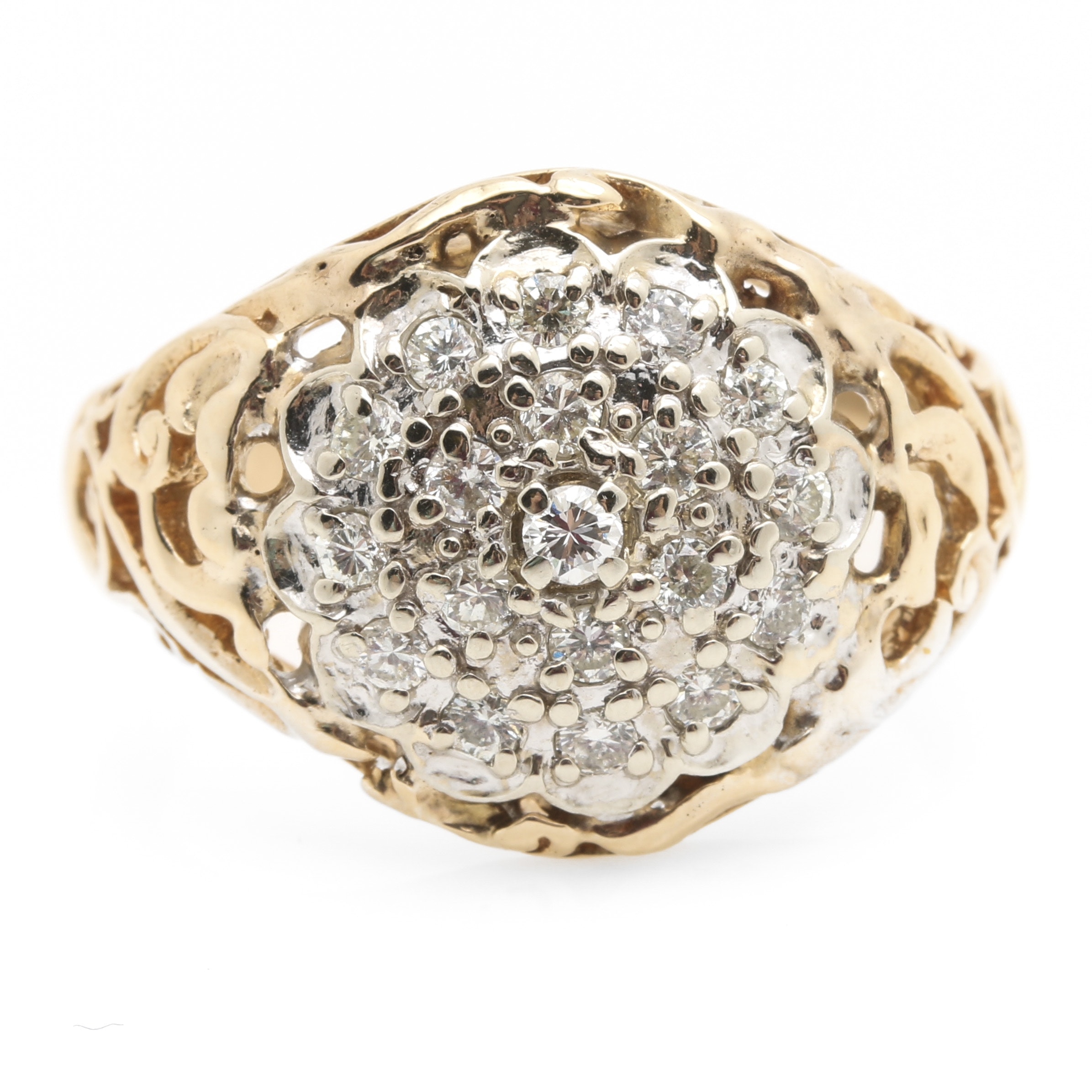 14K Yellow Gold 0.49 CTW Diamond Cluster Ring
