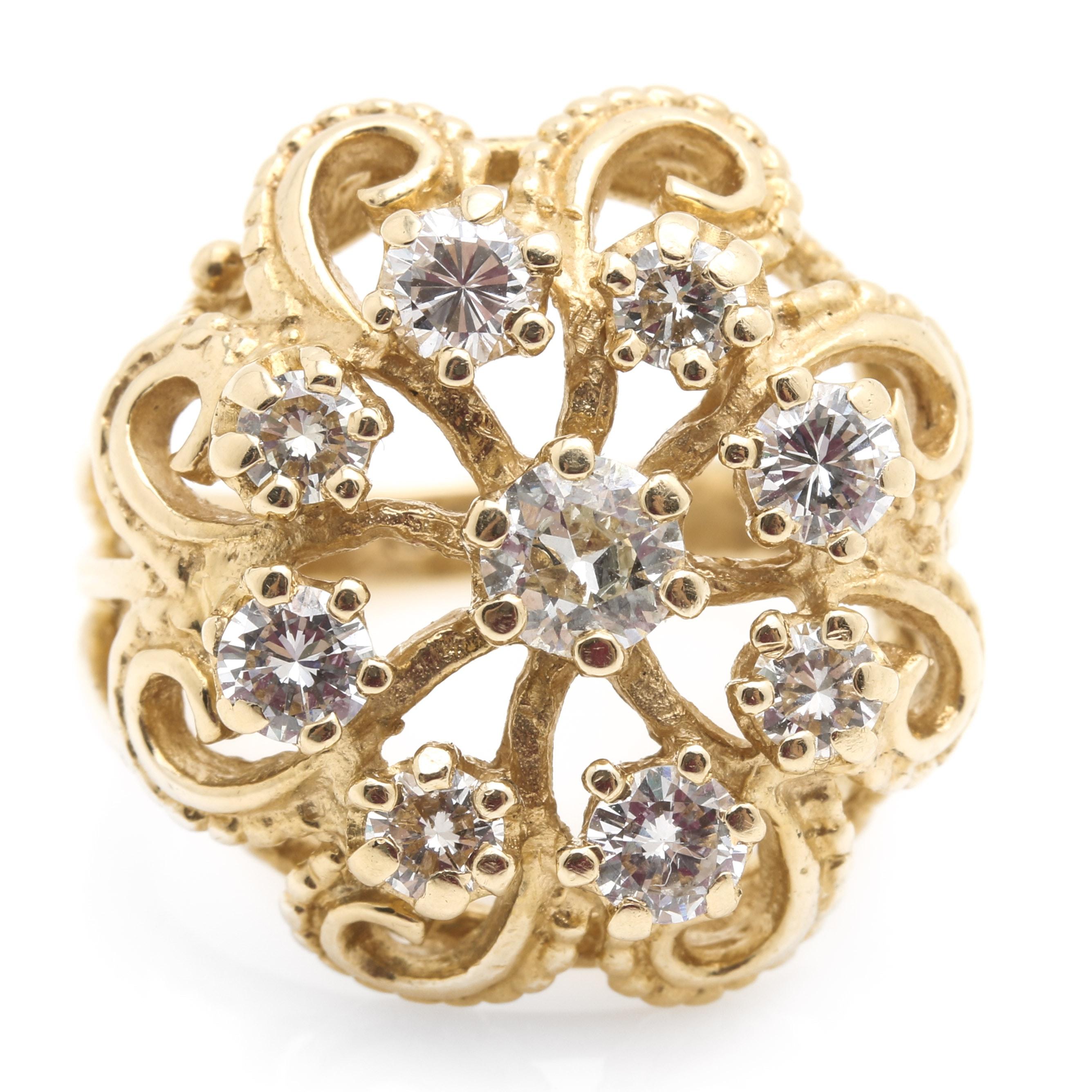 Retro 14K Yellow Gold 1.72 CTW Diamond Pinwheel Ring