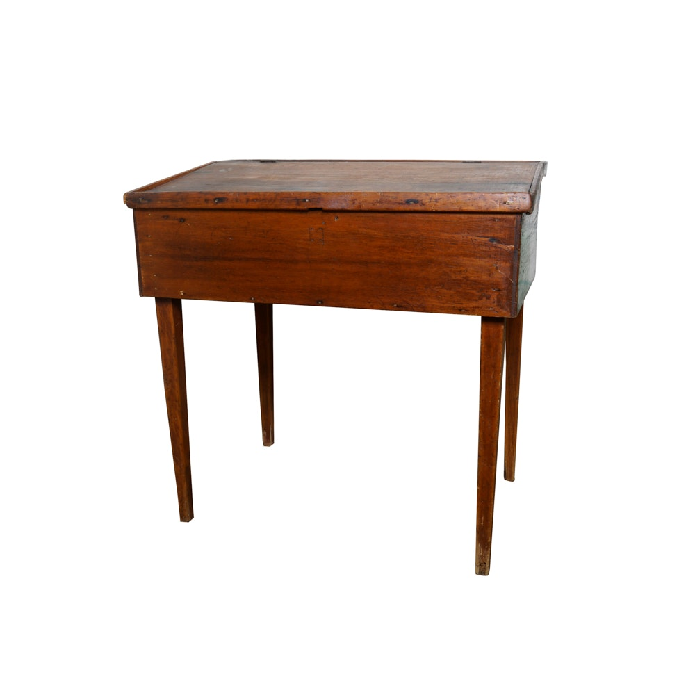 Antique Early American Walnut Slant Front Desk