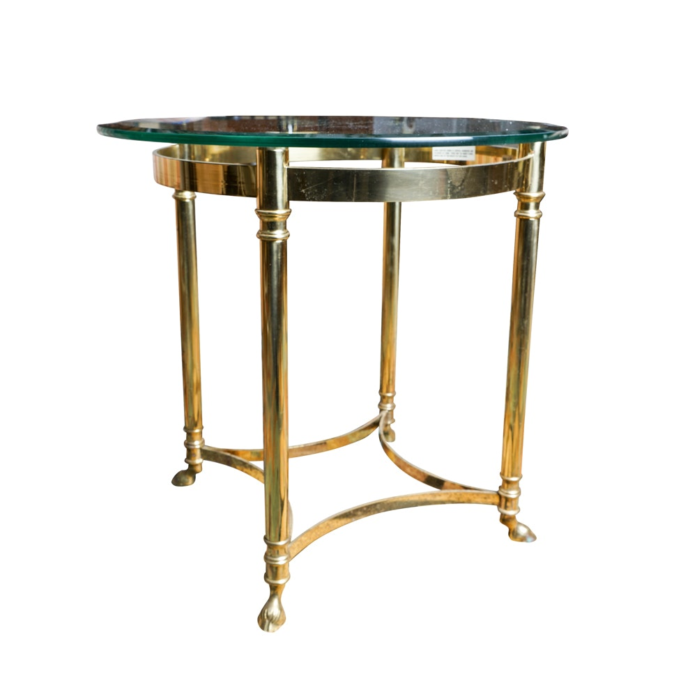 Hollywood Regency Style Brass and Glass Accent Table by Labarge