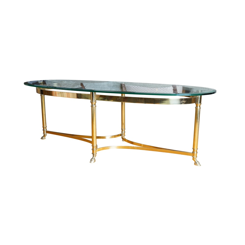 Hollywood Regency Style Brass and Glass Cocktail Table by Labarge