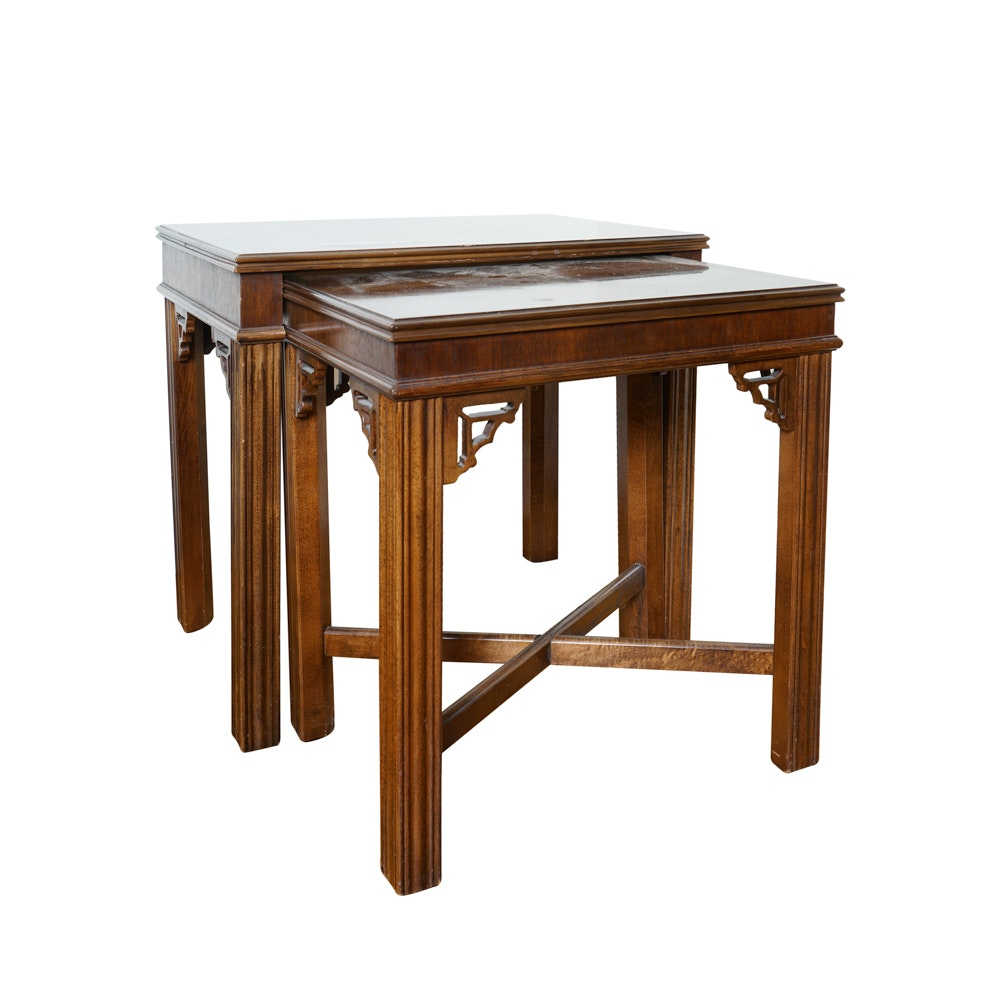 chinese chippendale style mahogany nesting tables by lane