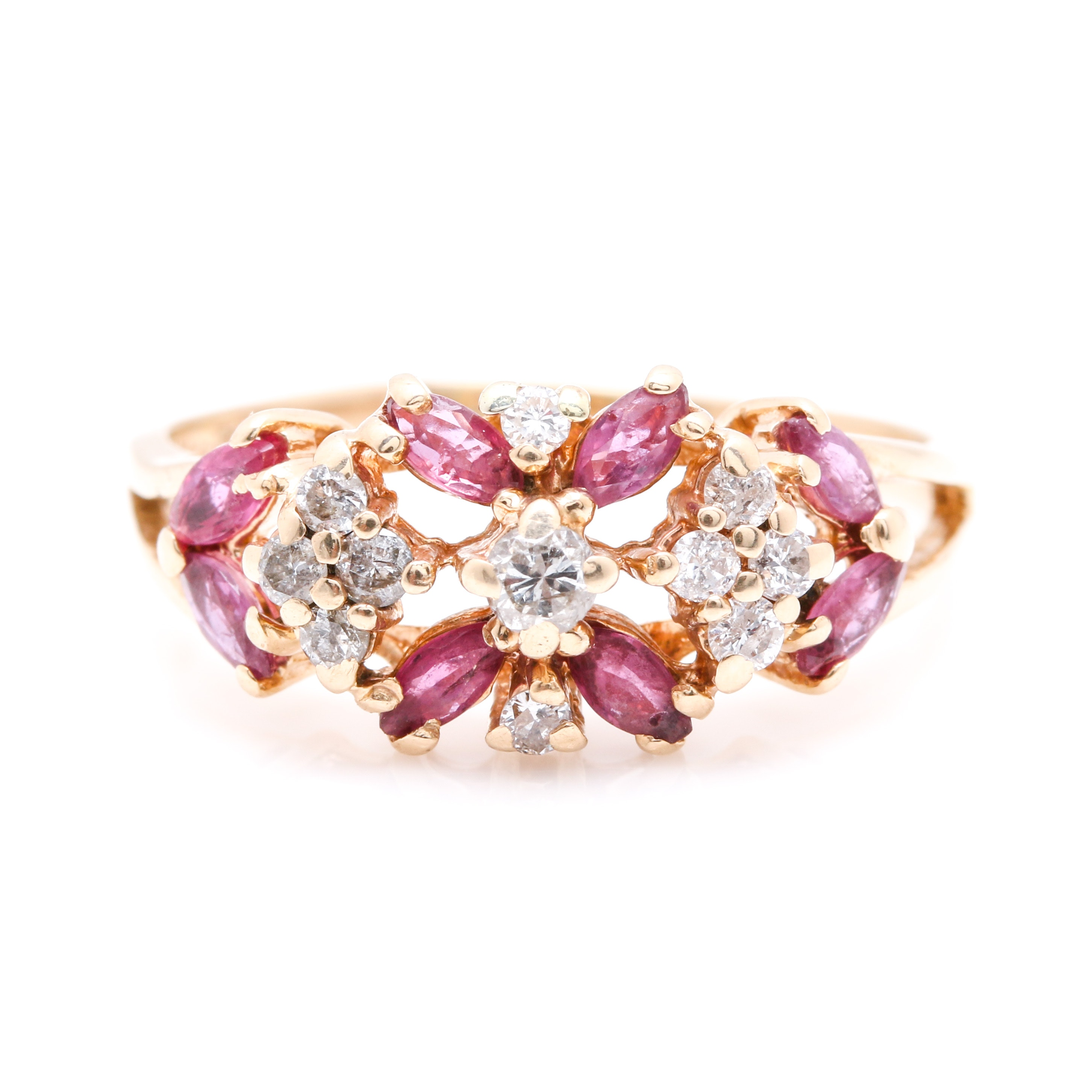 14K Yellow Gold 0.99 CTW Ruby and 0.27 CTW Diamond Ring