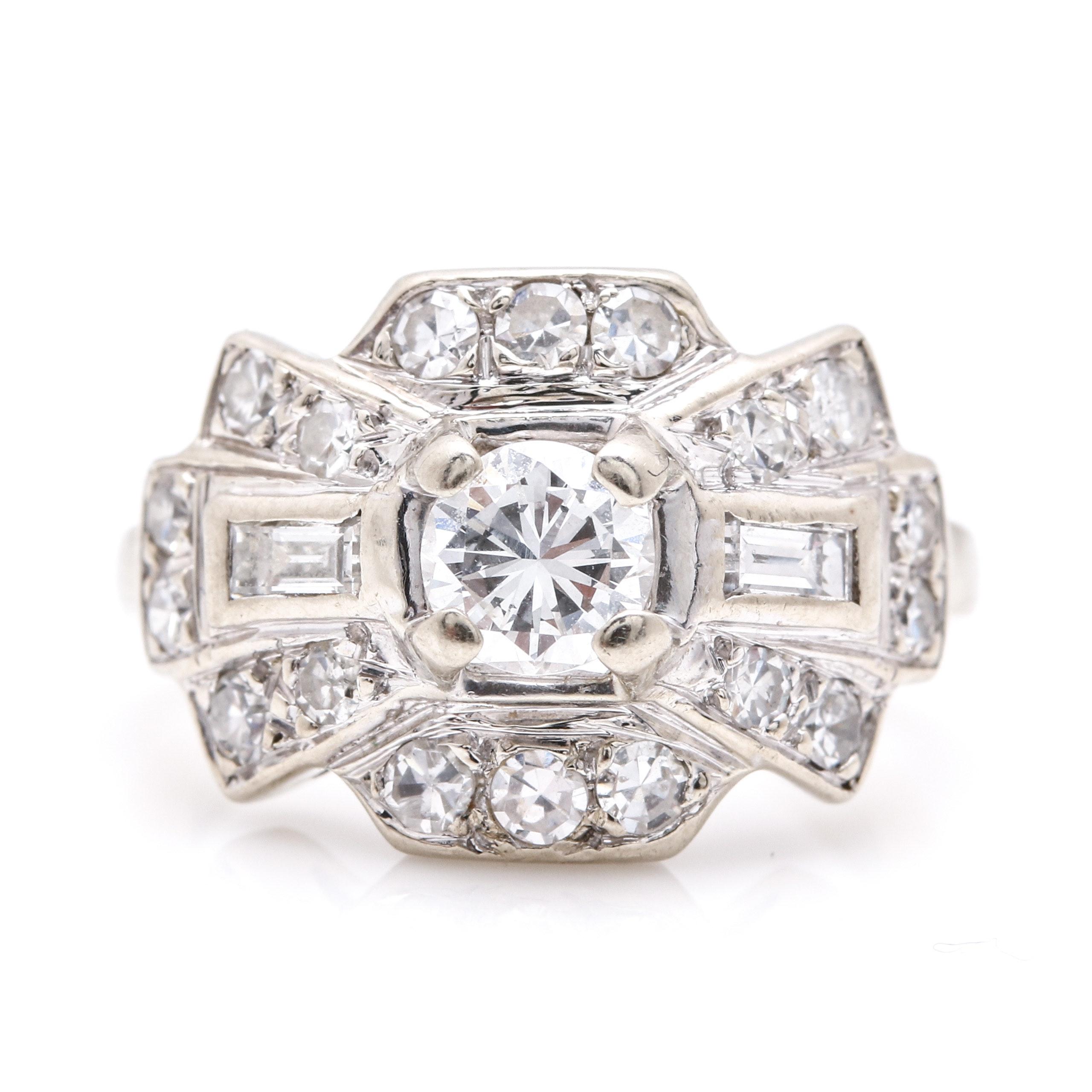 14K White Gold Art Deco Style 0.83 CTW Diamond Ring
