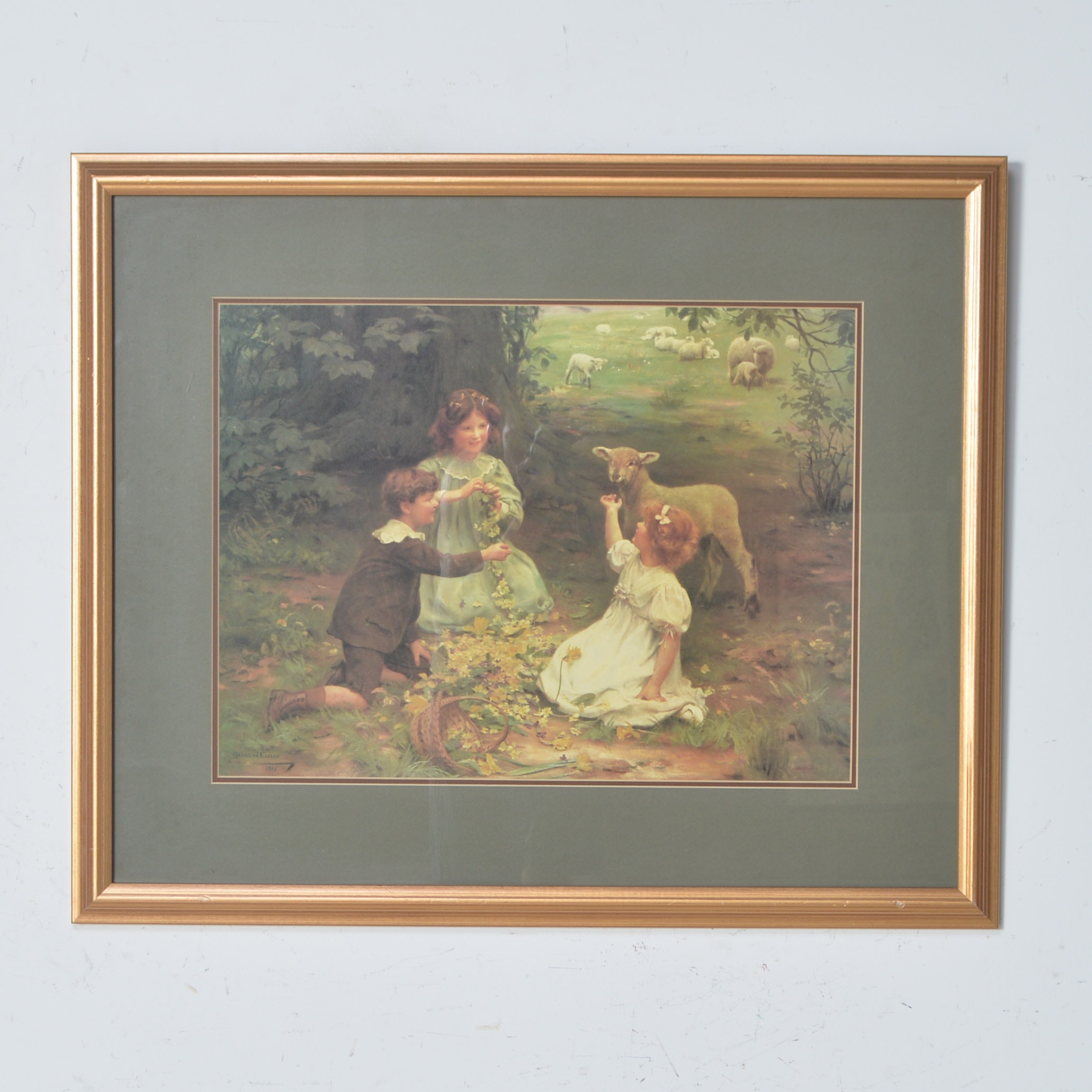 Arthur Elsley Offset Lithograph of Children and a Lamb