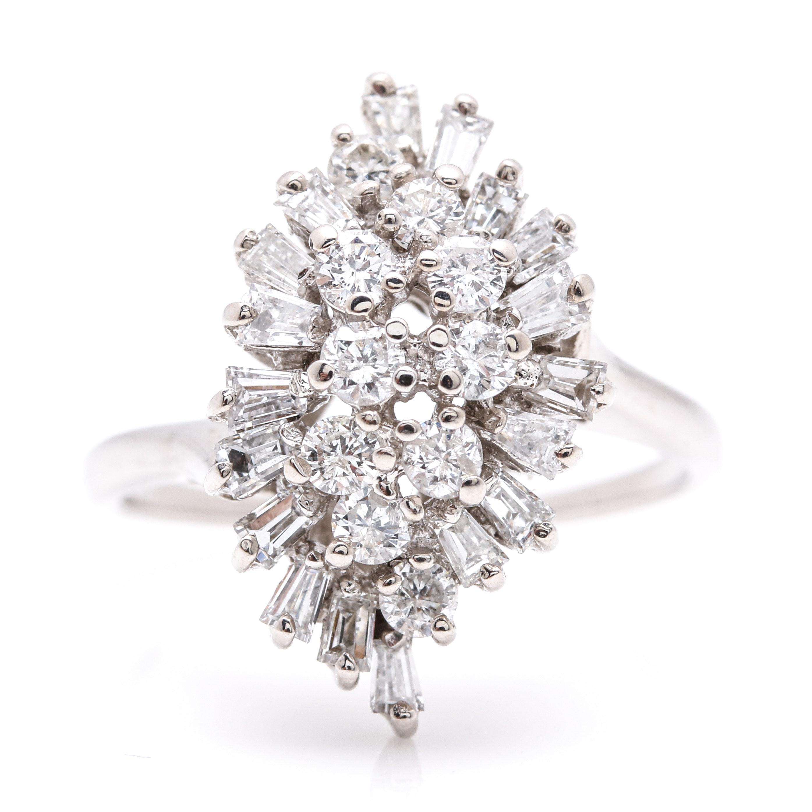 14K White Gold 1.51 CTW Diamond Cluster Ring