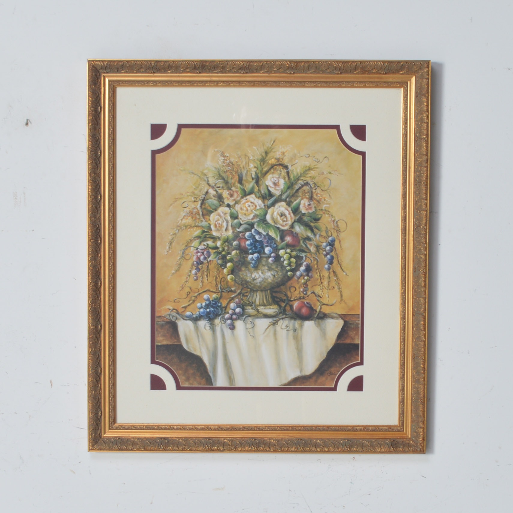 Framed Offset Lithograph of a Floral Still Life
