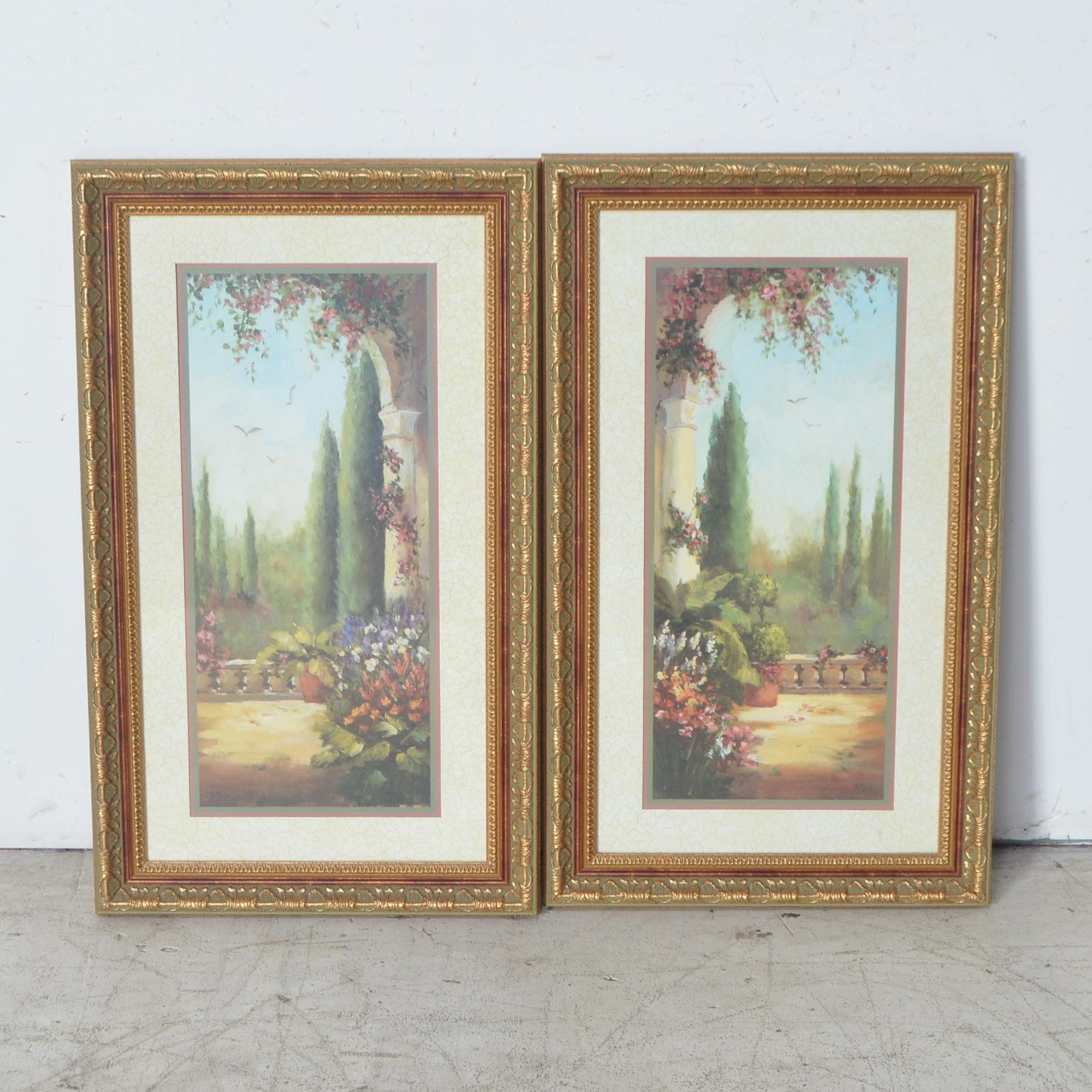 Pair of Framed Offset Lithographs of a Garden