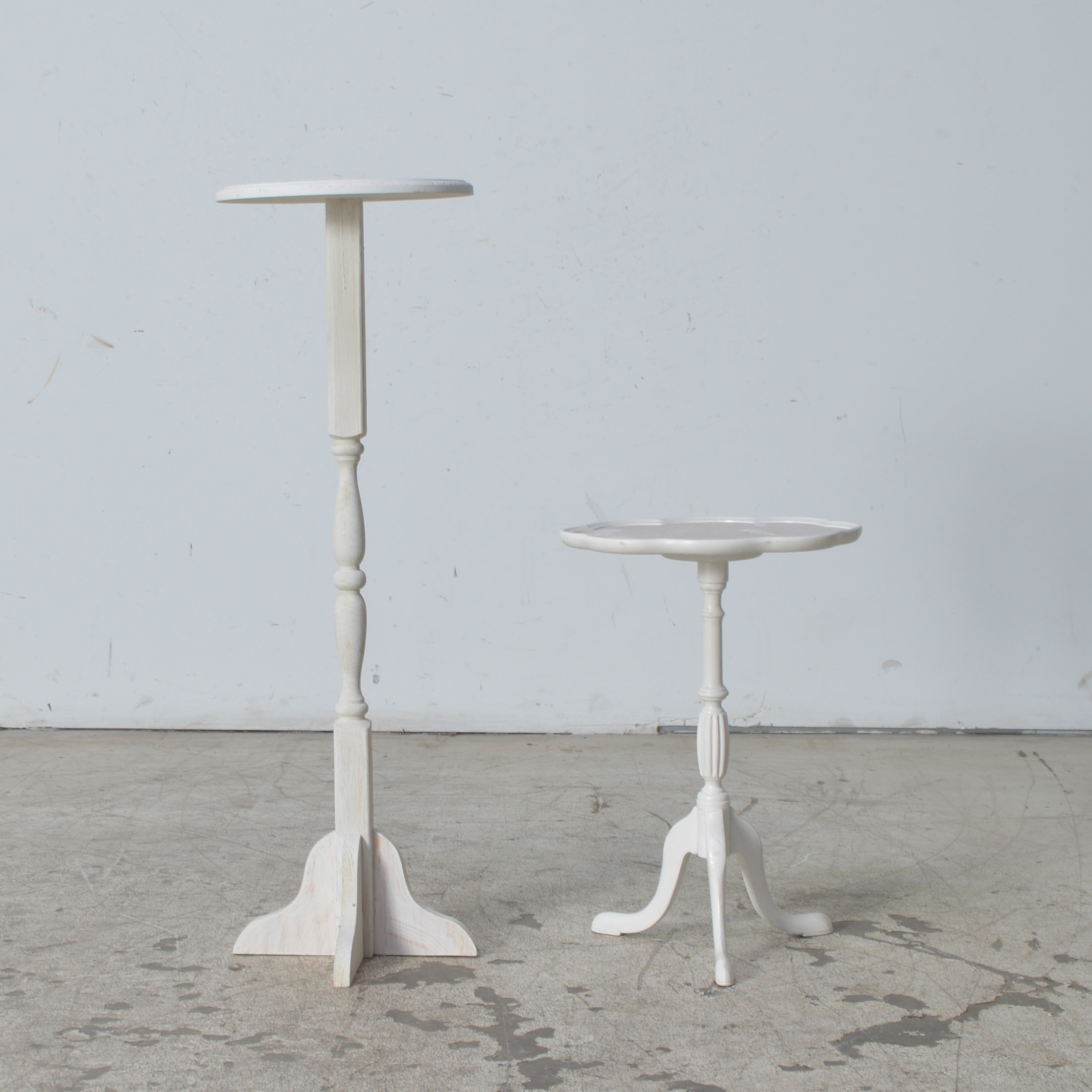 White Painted Pedestal Tables