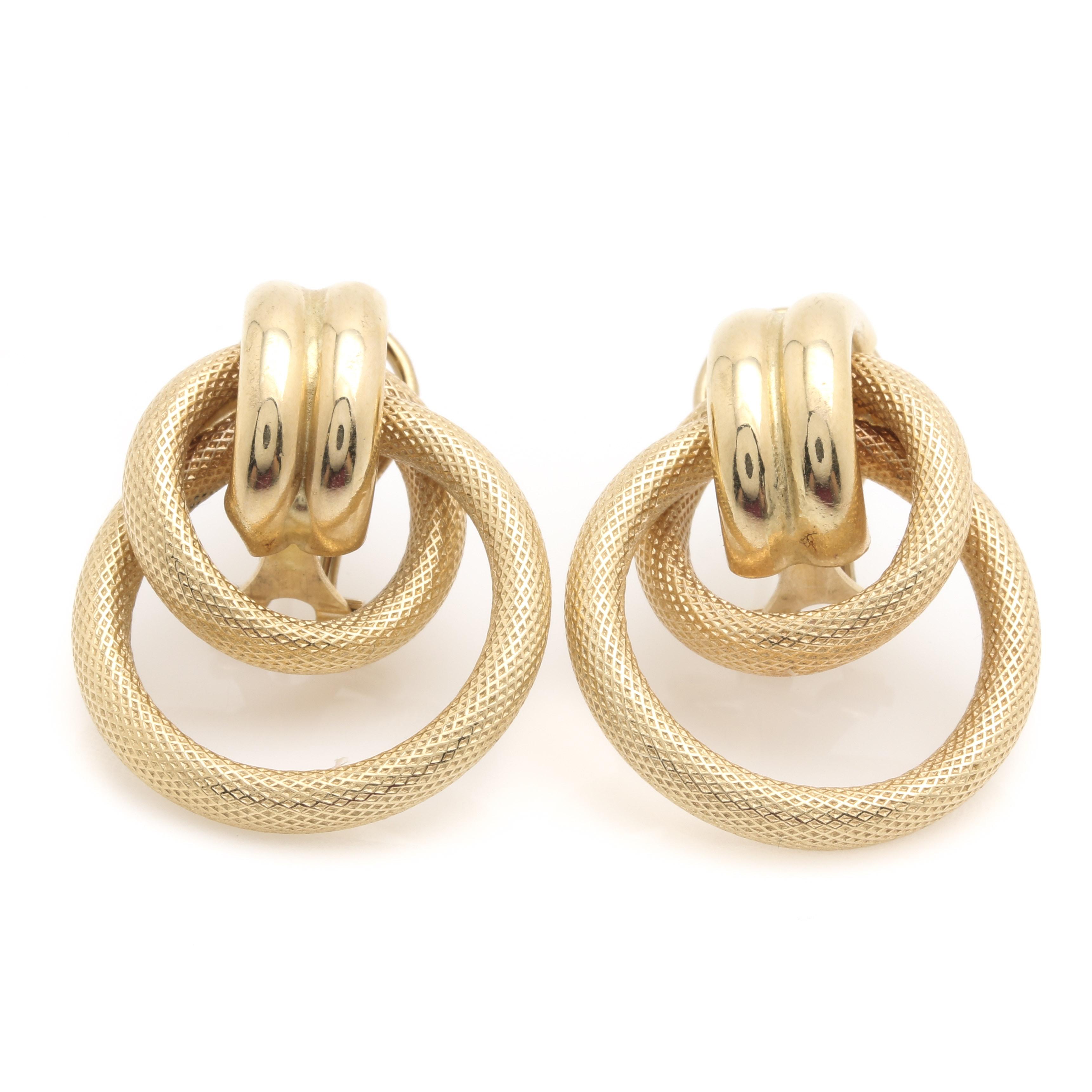 14K Yellow Gold Doorknocker Earrings