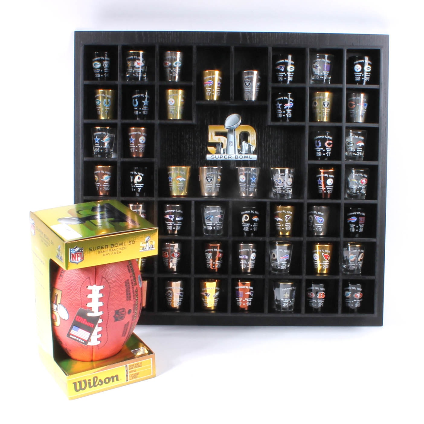 """Super Bowl 50"" Shot Glass Collection and Limited Edition Football"