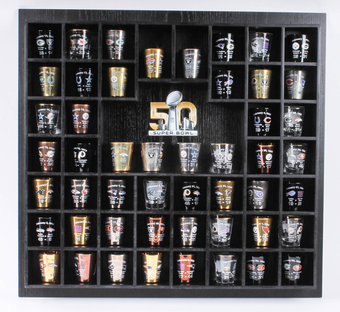 """Super Bowl 50"" Shot Glass Collection And Limited Edition"