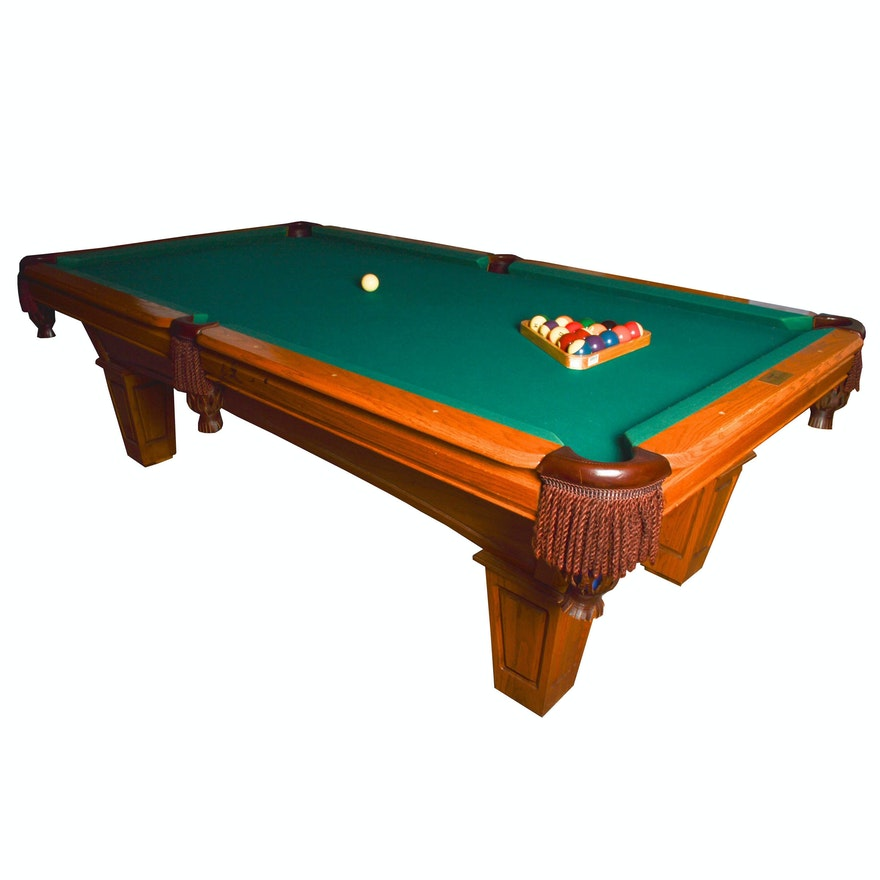 AMF PlayMaster Oak Pool Table EBTH - Amf playmaster pool table
