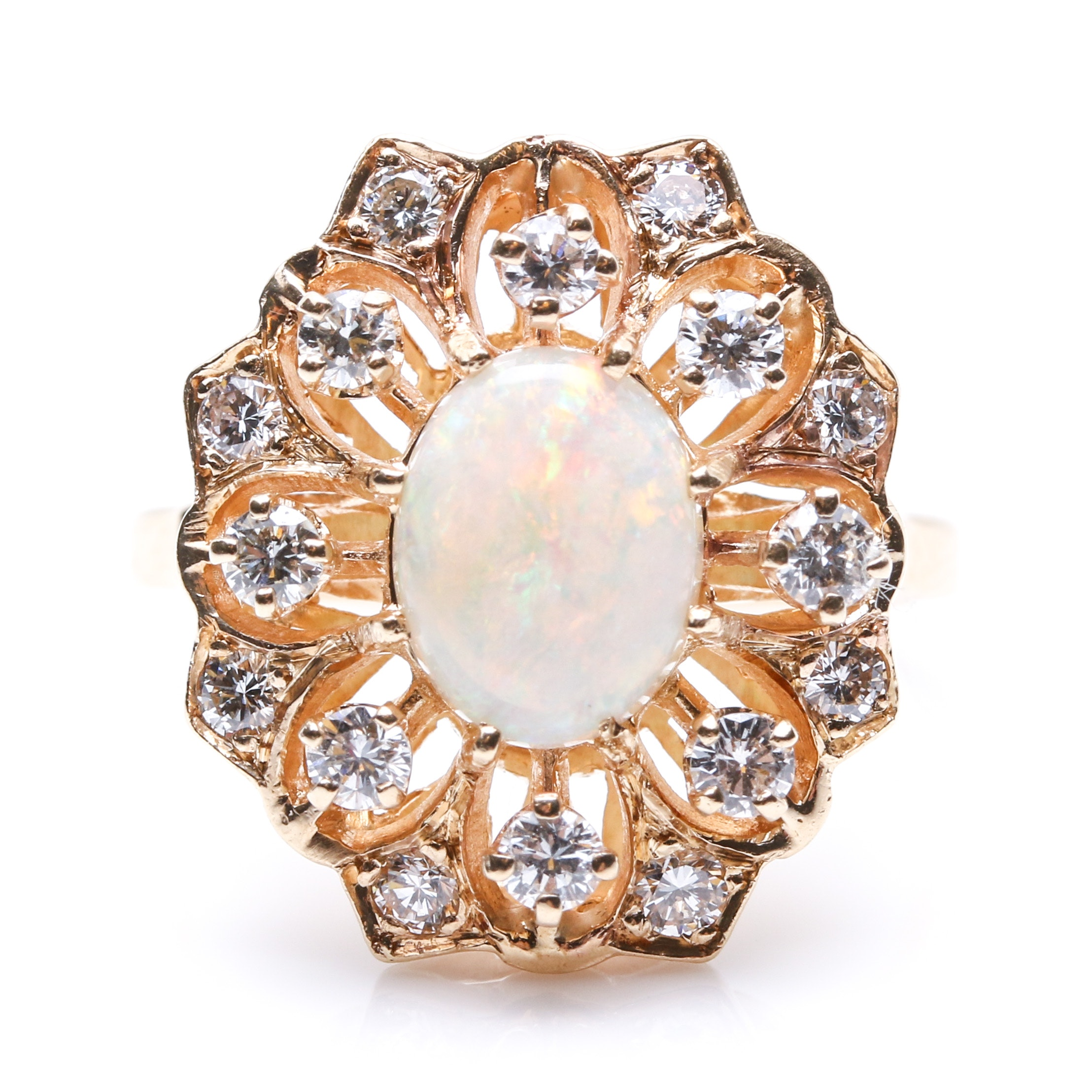 14K Yellow Gold 0.80 CTW Diamond and Opal Ring