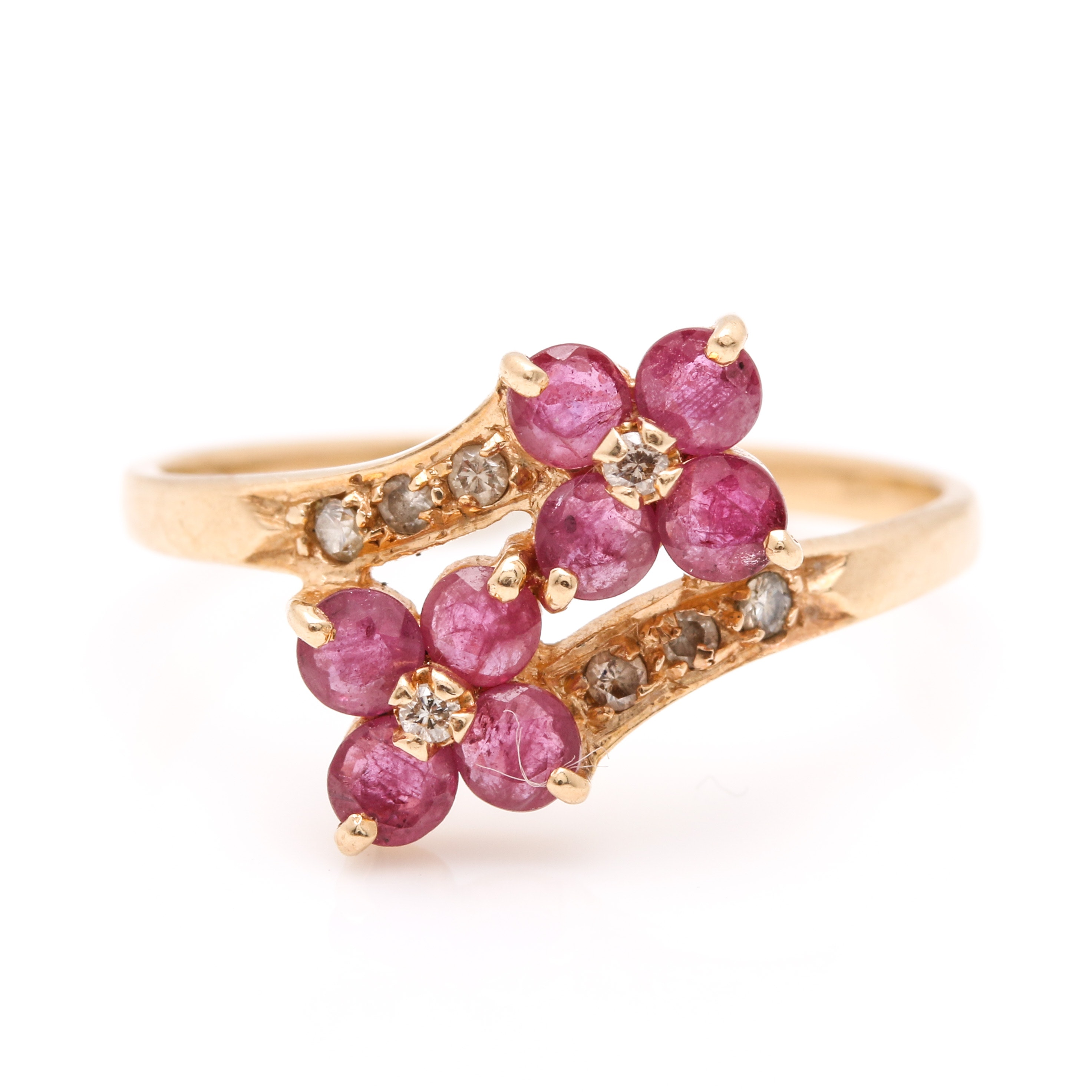 14K Yellow Gold 0.72 CTW Ruby and 0.11 CTW Diamond Floral Bypass Ring