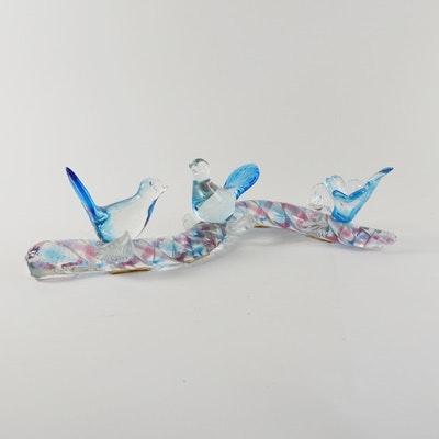 Blown Art Glass Blue Birds on Eel