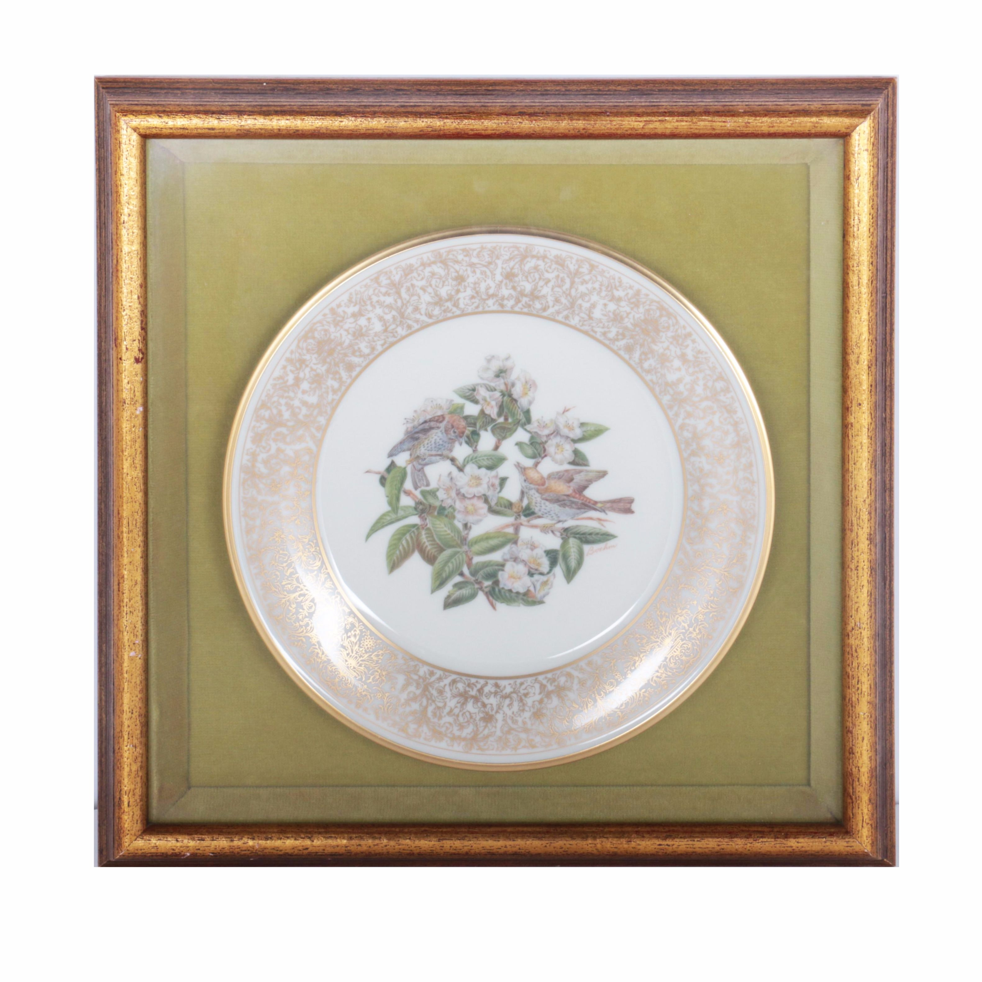 Framed Boehm Porcelain Transferware Plate with Gilt Accents