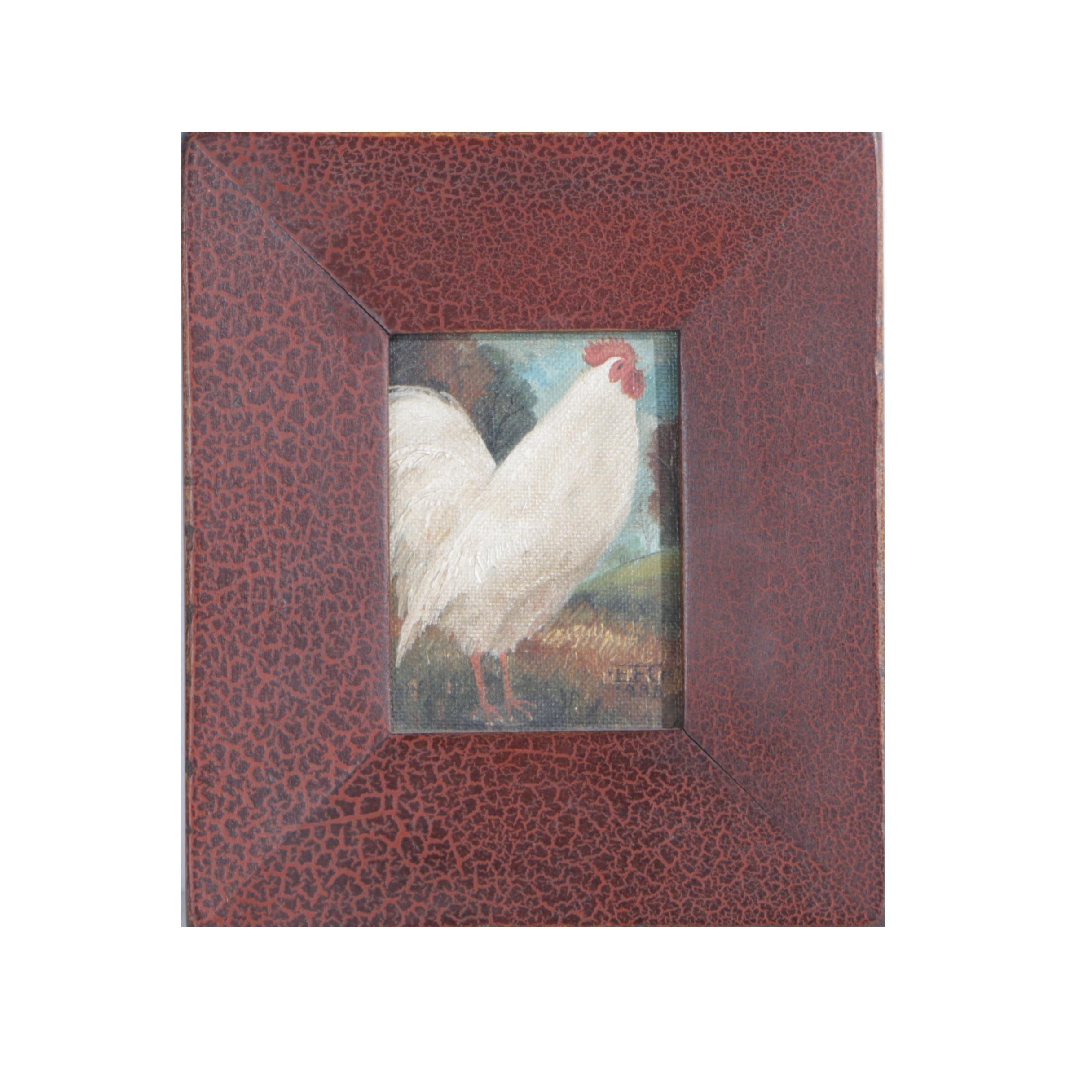 Charming Elizabeth Gilkey Folk Art Rooster Oil on Canvas