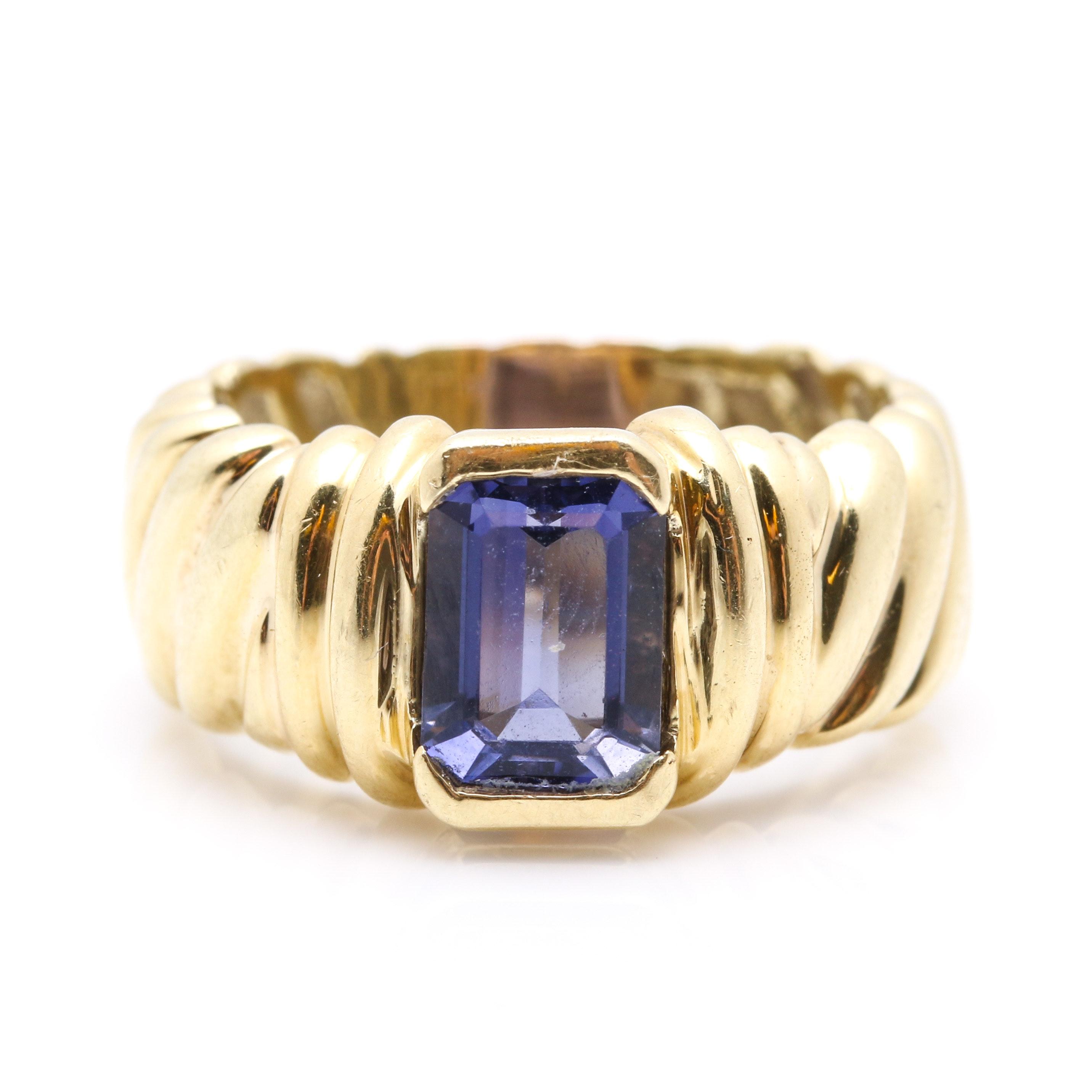 David Yurman 1.28 CT Iolite Cable Ring
